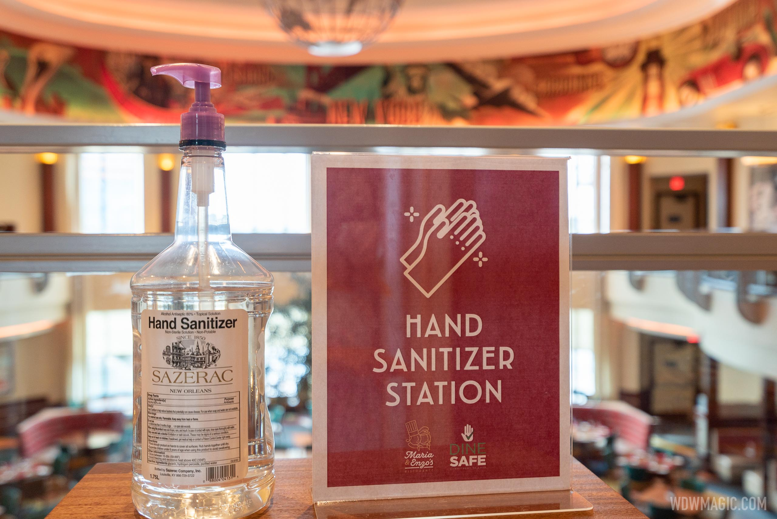 Hand sanitizer station at Maria and Enzo's