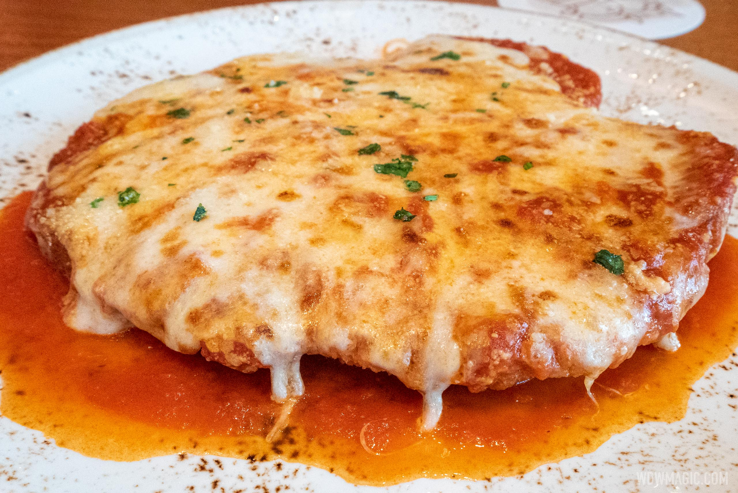 Maria and Enzo's is offering 20 percent off their excellent Pollo Alla Parmigiana