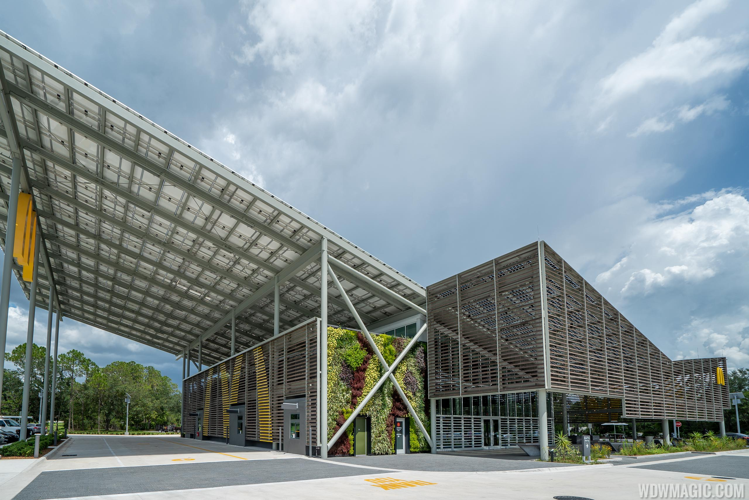 The wing-shaped structure is covered in solar panels