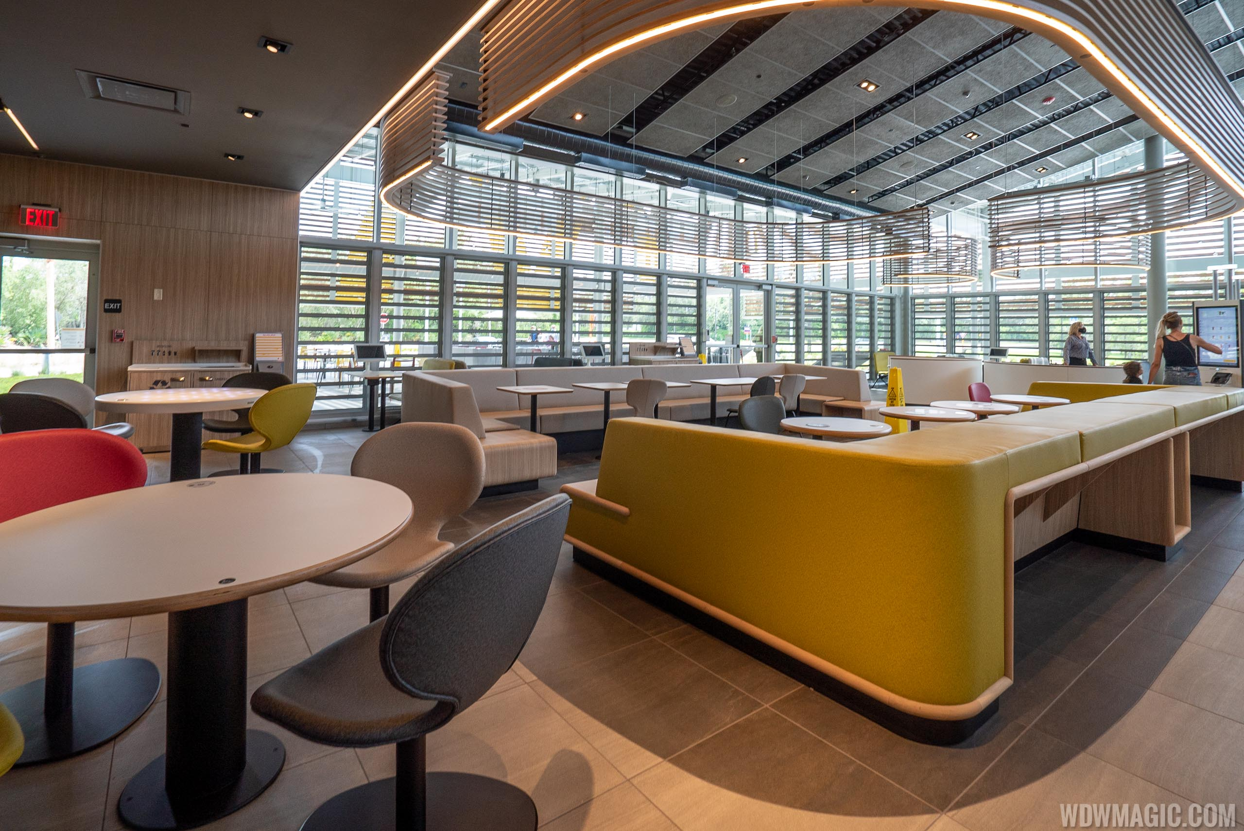 The inside is very modern with a variety of different seating types