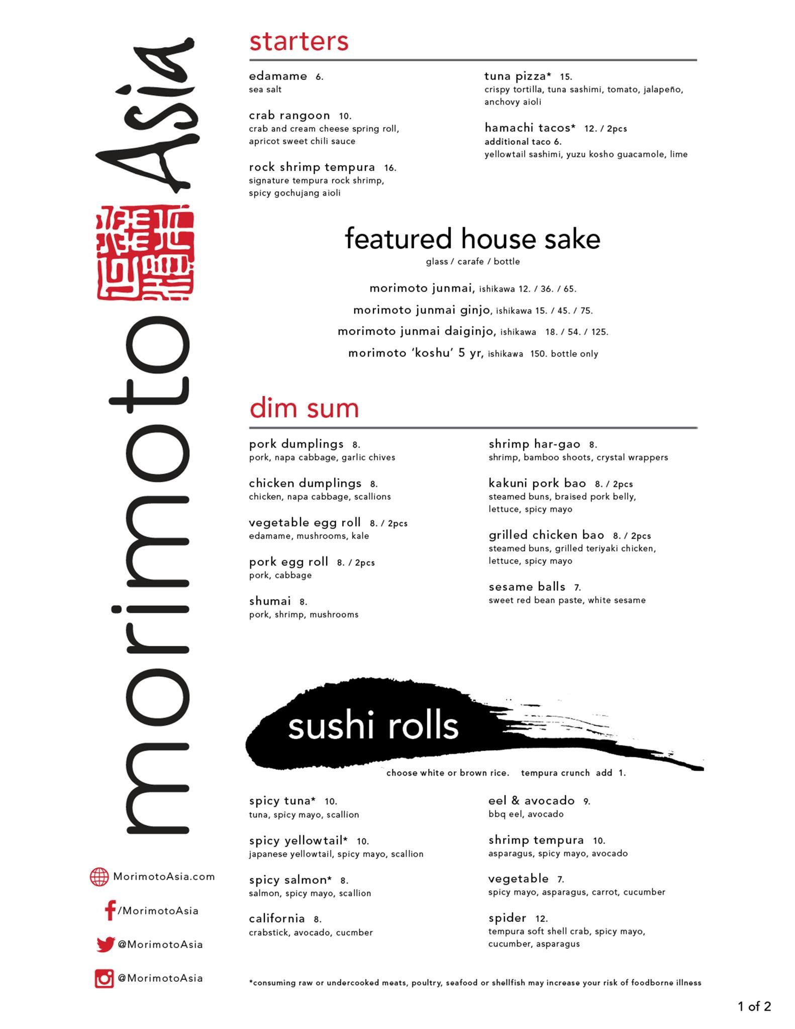 Morimoto Asia lunch menu - Page 1