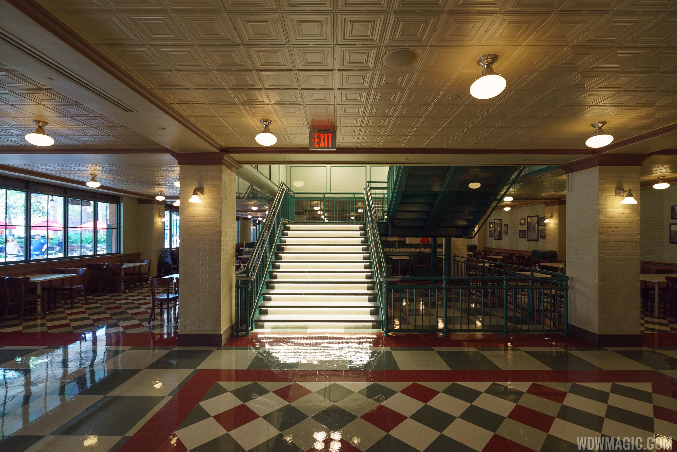 Inside PizzeRizzo - Staircase to the upper level dining room