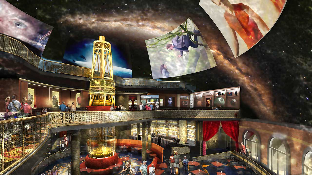 Concept art of the new Planet Hollywood Observatory interior