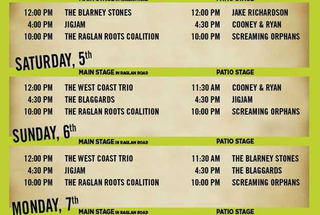 Raglan Road 2015 Great Irish Hooley entertainment schedule
