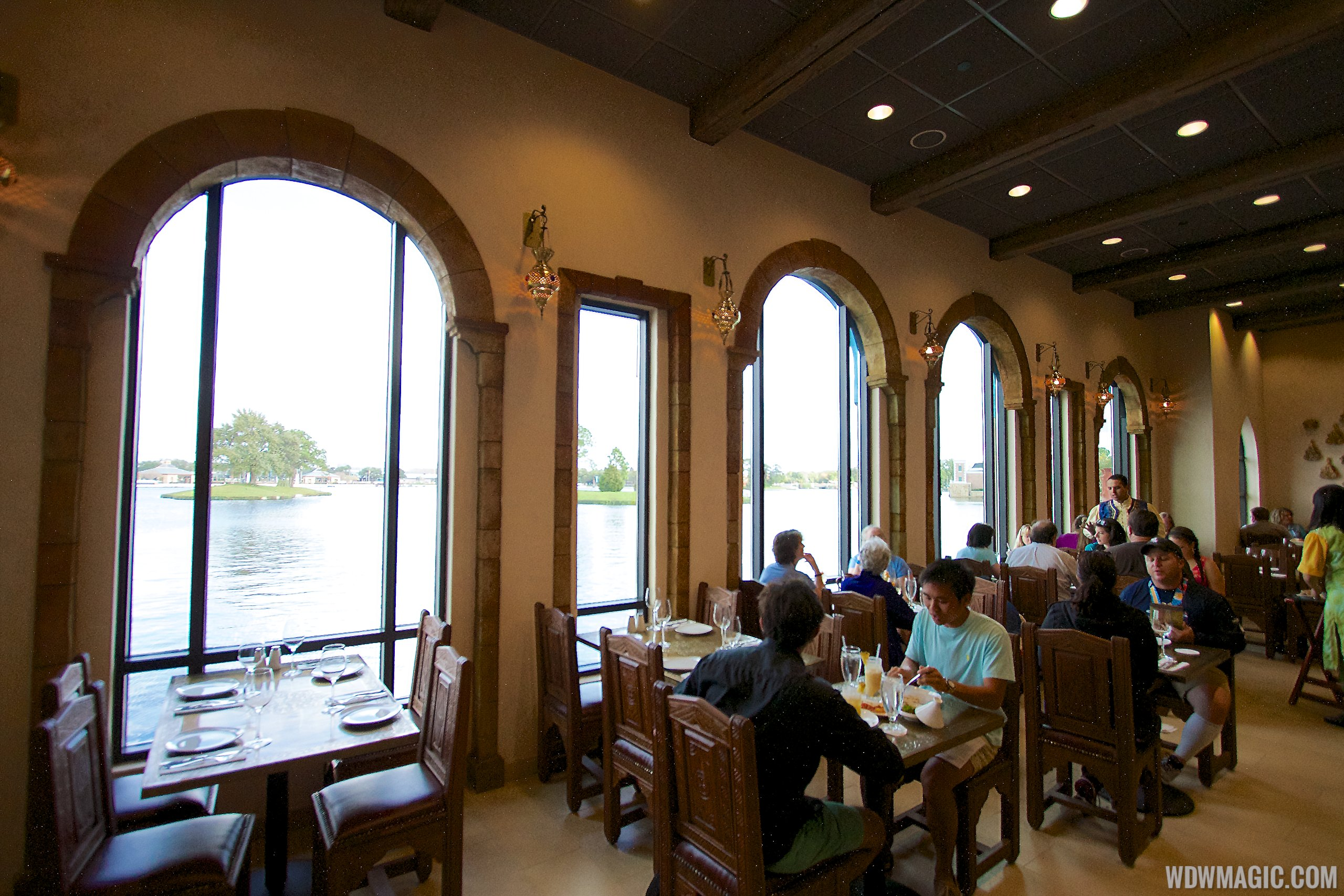 Spice Road Table - Indoor dining room overlooking World Showcase Lagoon
