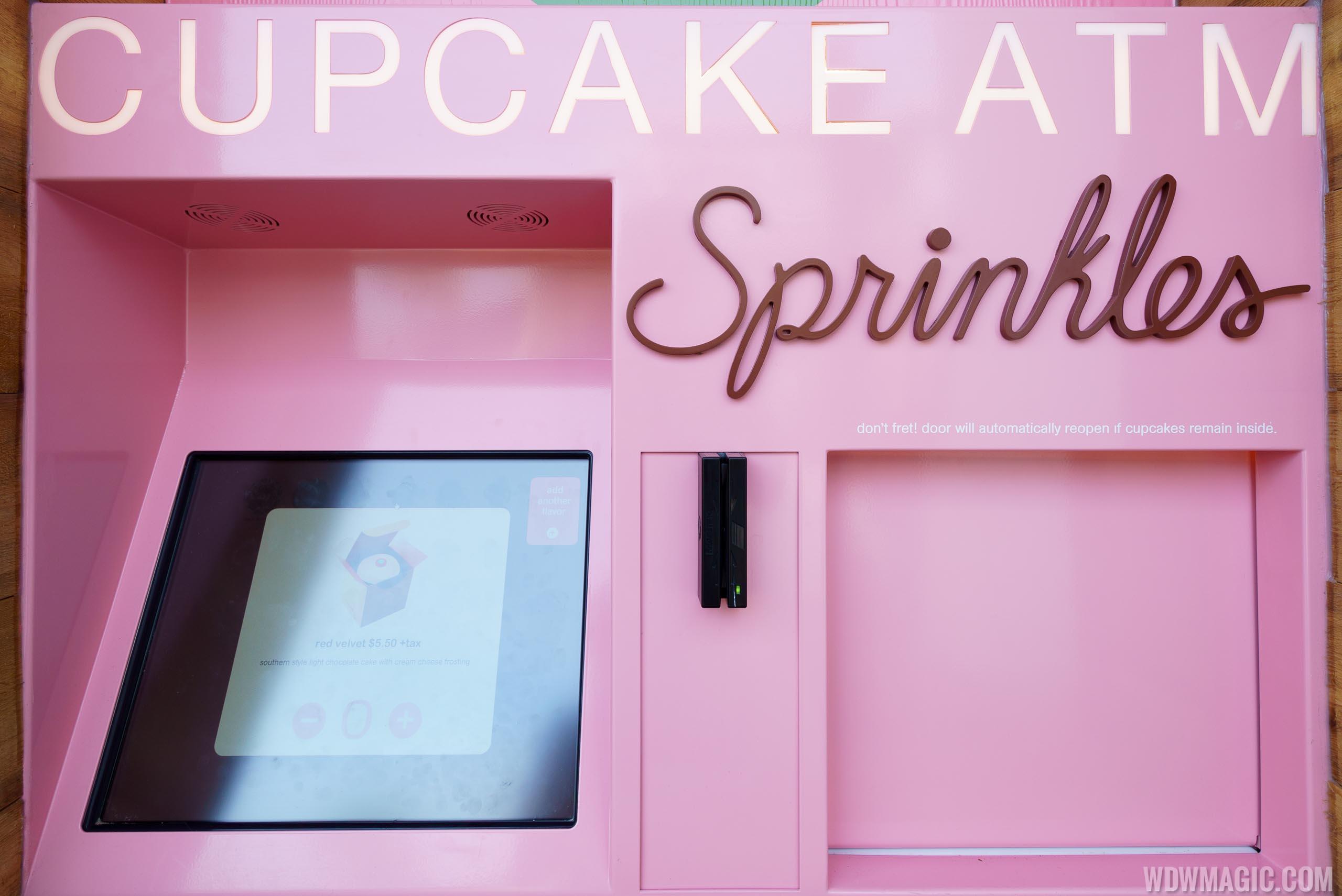 Closeup of the cupcake ATM at Sprinkles in Disney Springs