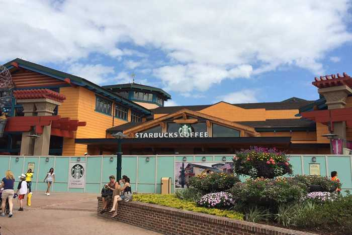 Starbucks signage up on Marketplace kiosk