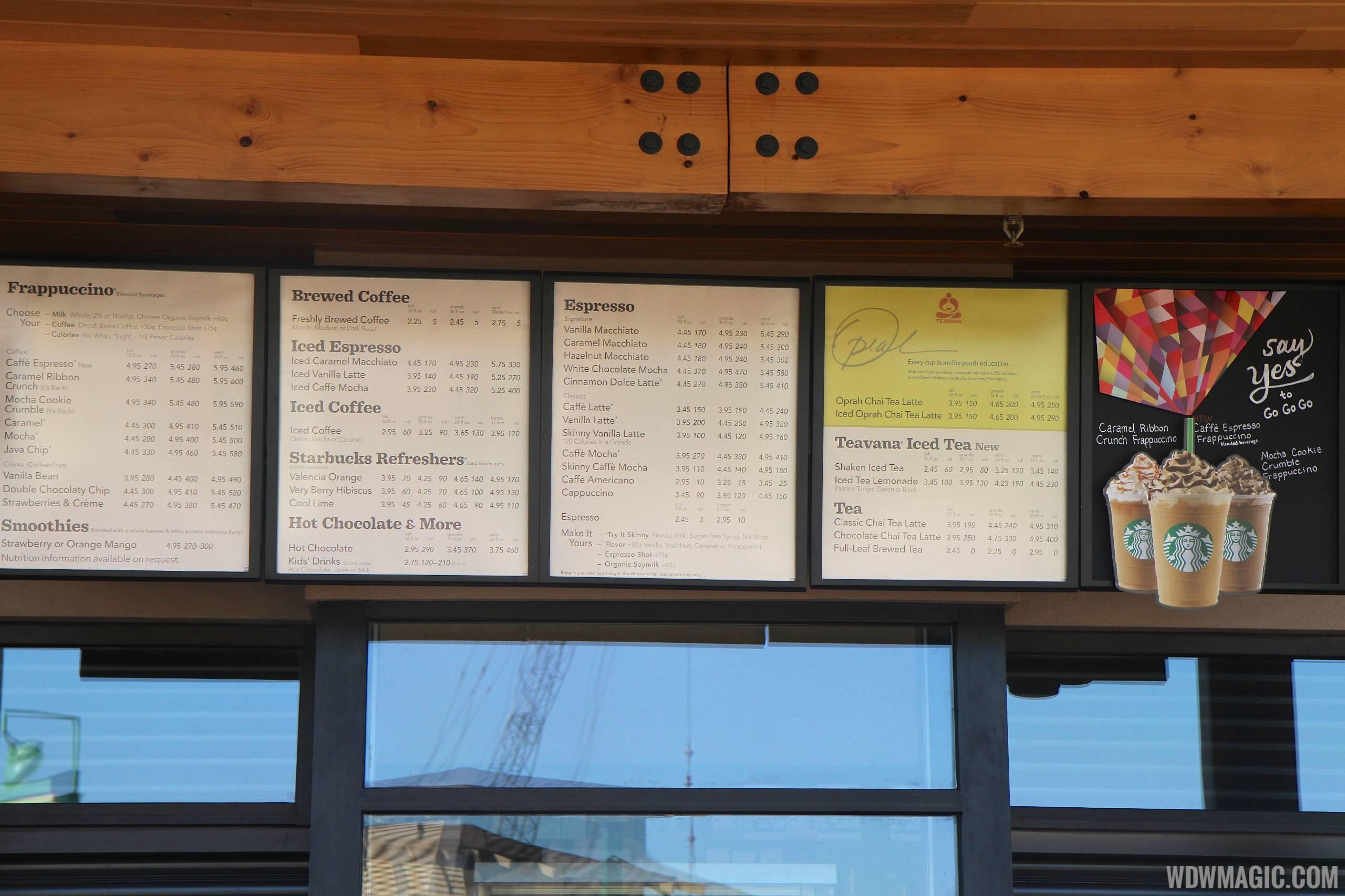 Starbucks Marketplace menu