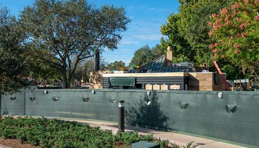PHOTOS - Construction of the new Starbucks temporary location in World Showcase