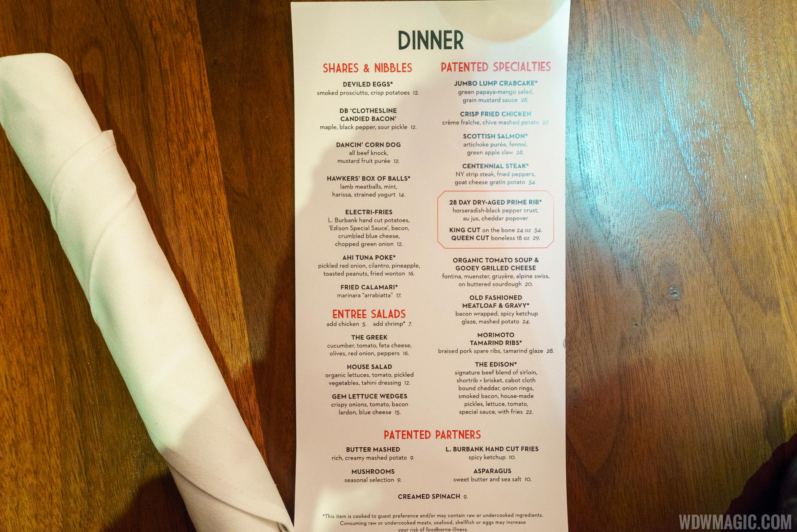 The Edison - Dinner menu
