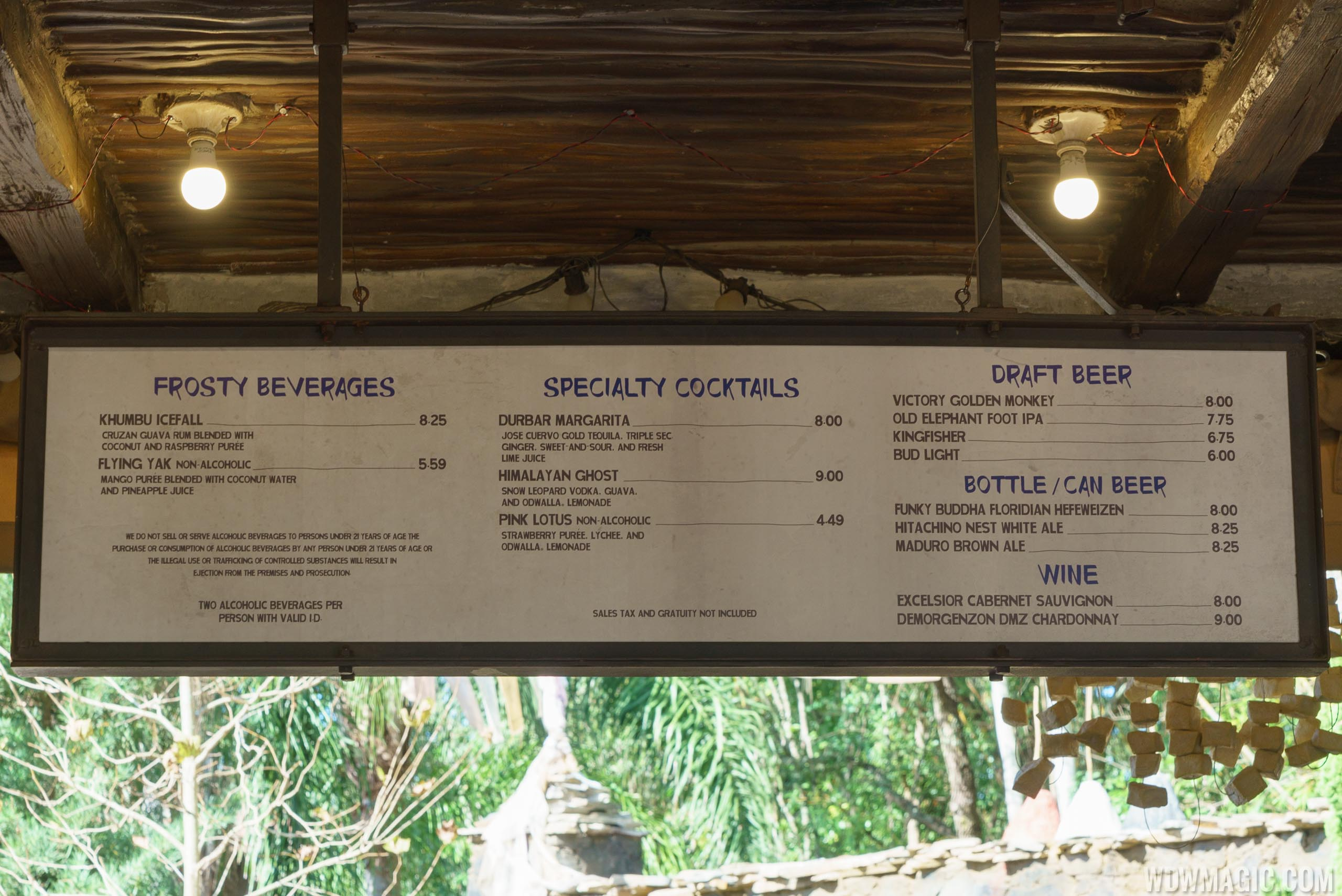 Thirsty River Bar and Trek Snacks alcohol menu