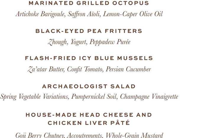 Tiffins menu