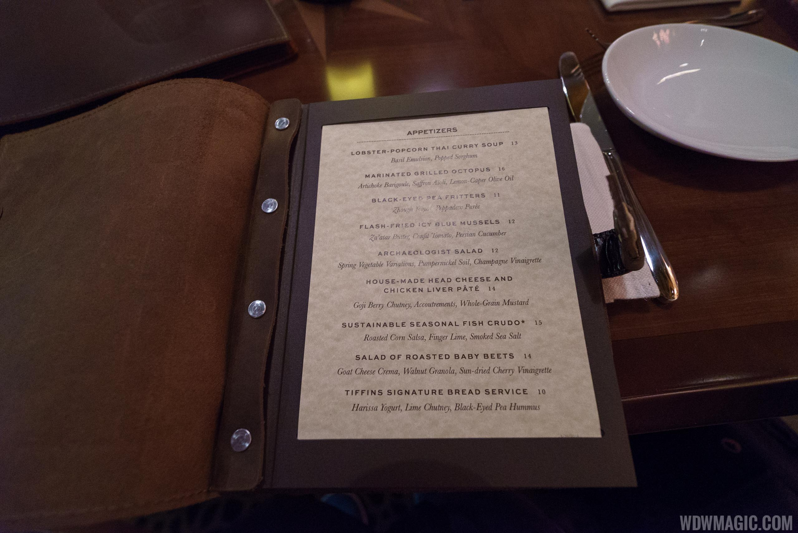 Tiffins - Leather bound menu