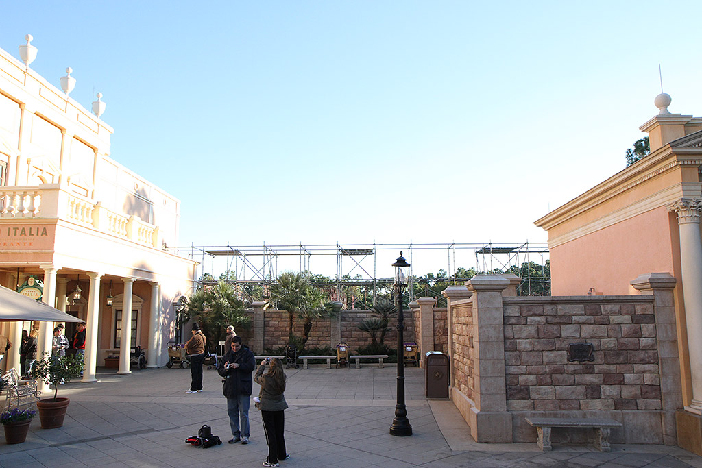 New counter service pizzeria now under construction in the Italy pavilion