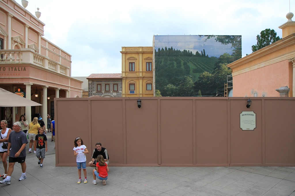 Construction wall partially down