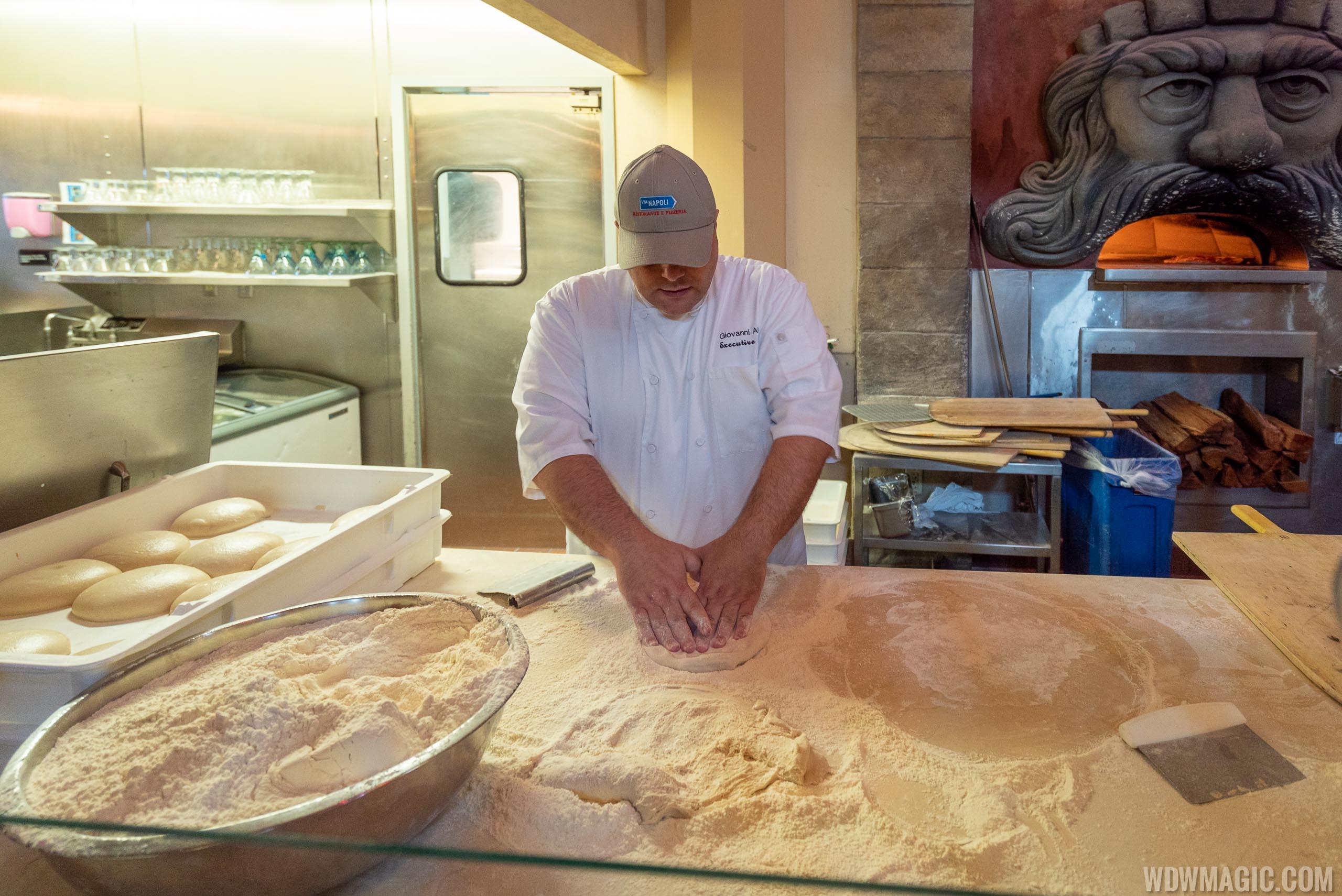 Via Napoli Executive Chef Giovanni Aletto begins the pizza making process