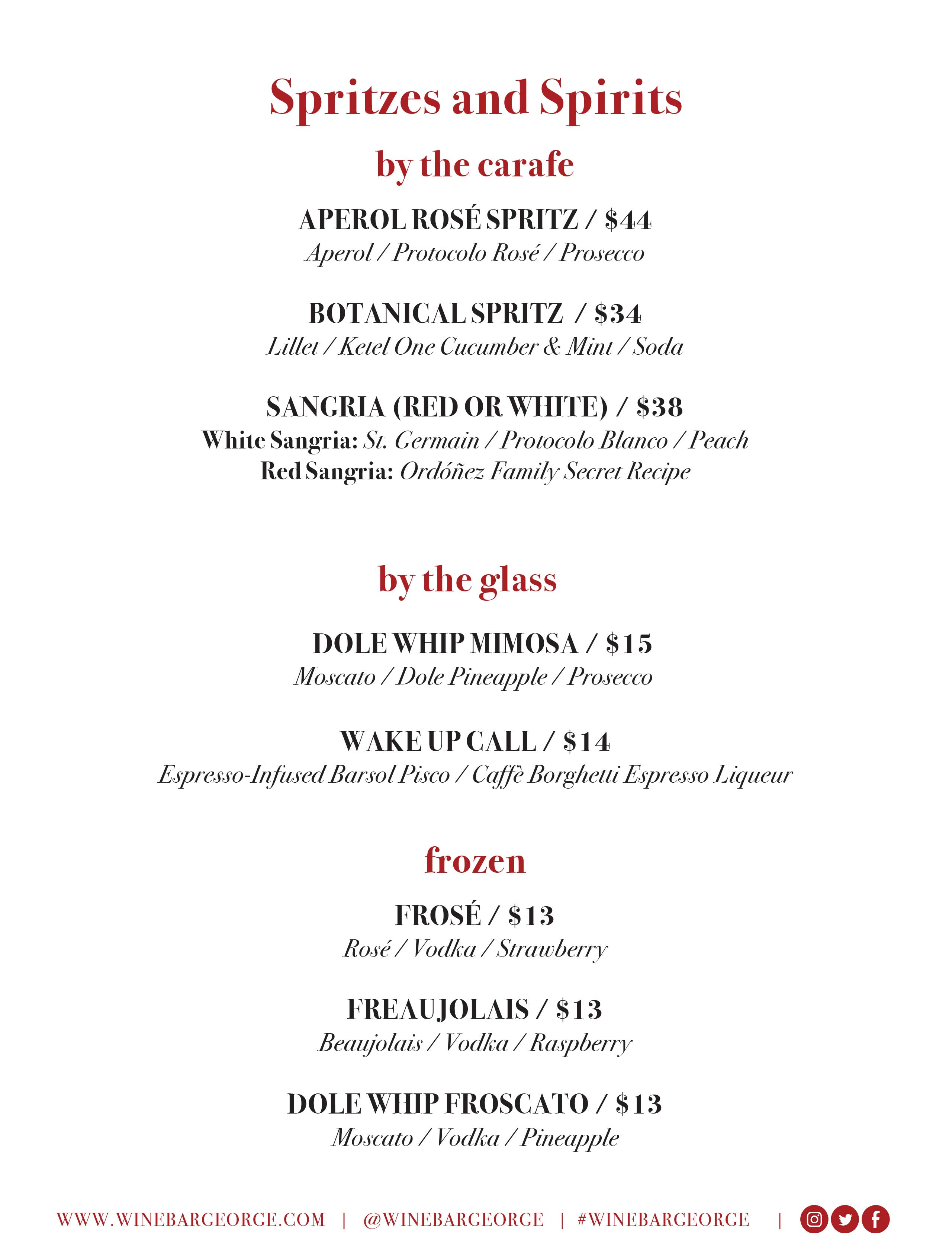 Wine Bar George brunch menu