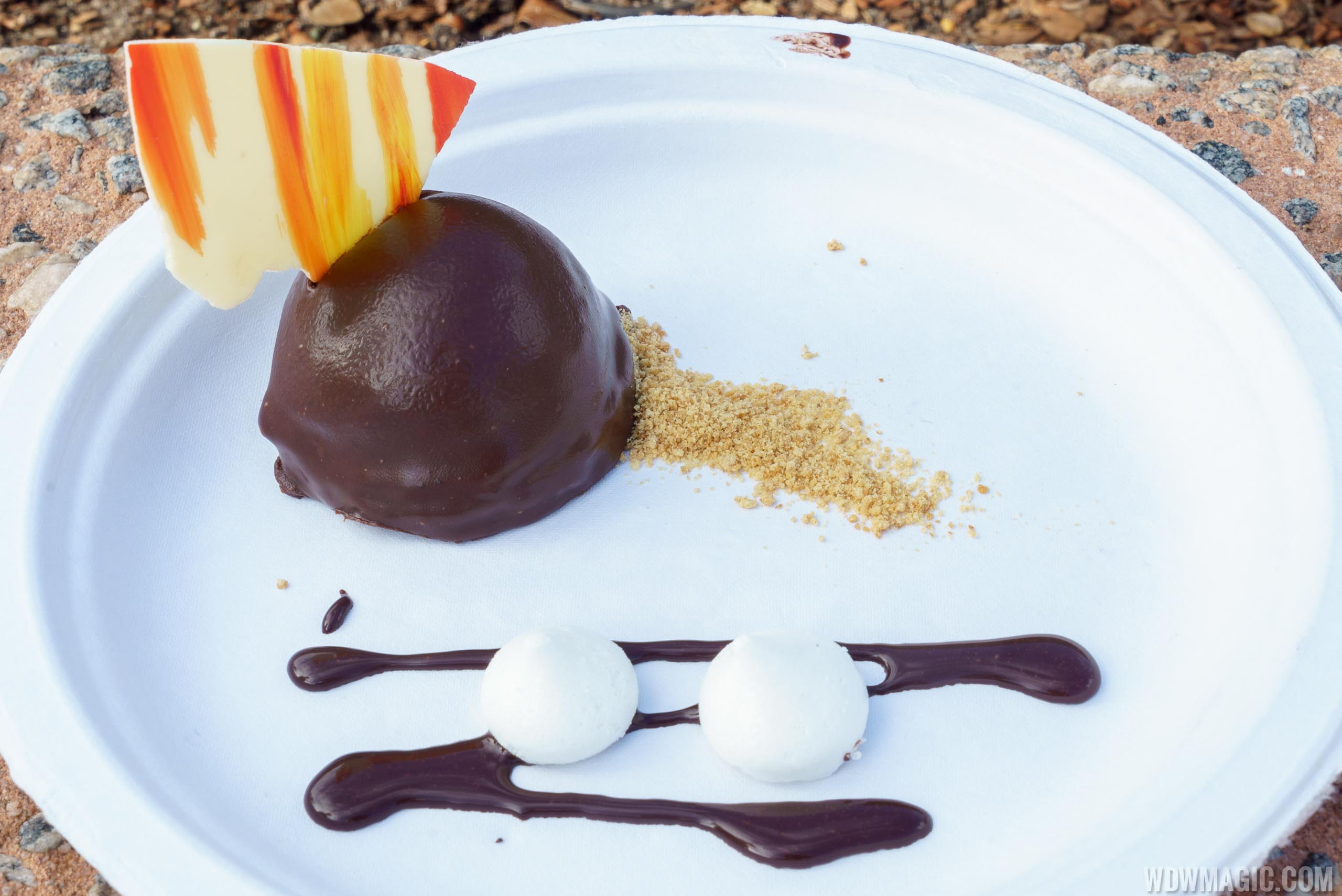 """Festival of the Arts Food Studio - Decadent Delights - Dark Chocolate S'mores: Homemade Graham Cracker, Vanilla Kisses and White Chocolate """"Fire"""""""