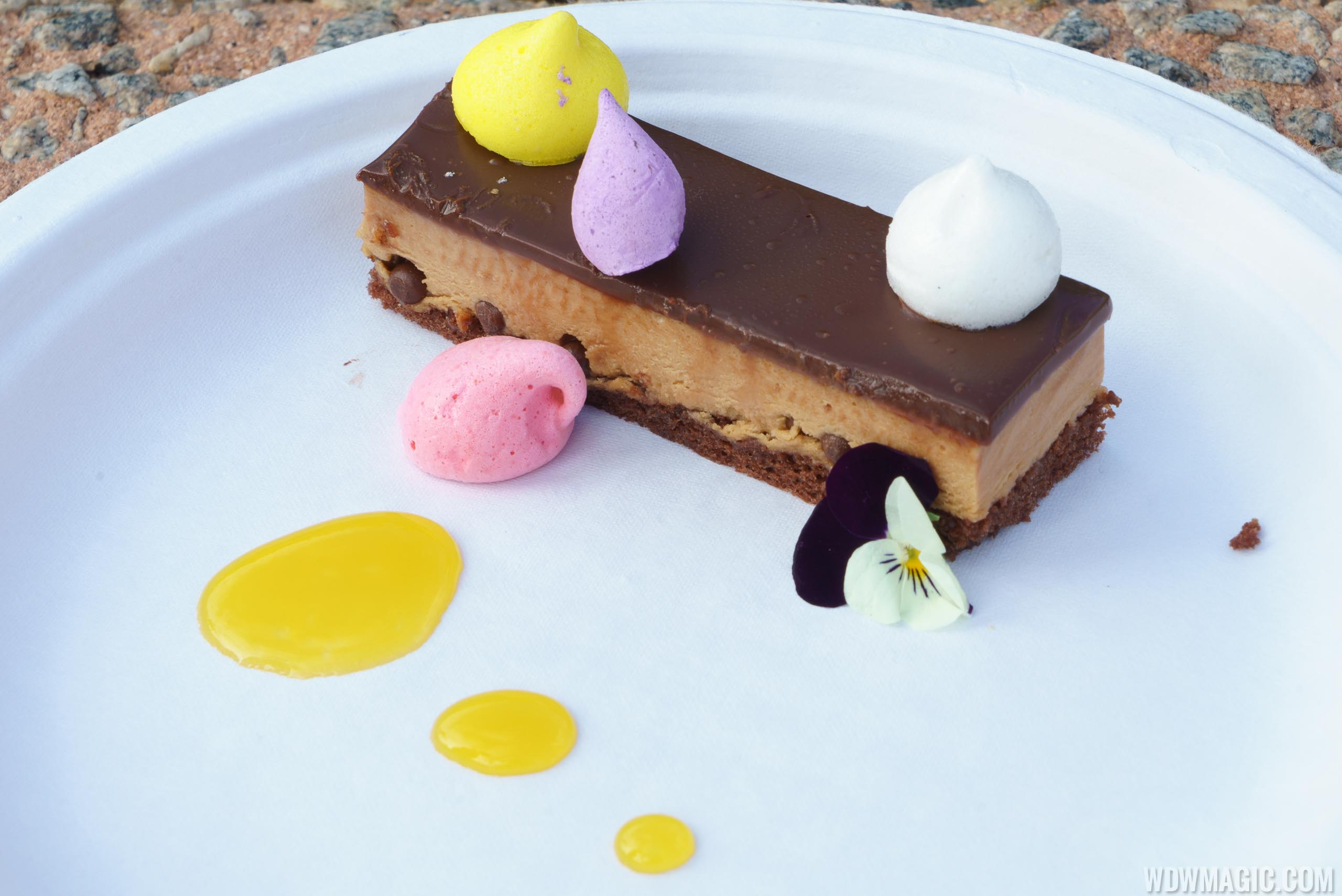 Festival of the Arts Food Studio - Decadent Delights - Crisp Caramel Chocolate Mousse Bar, Flavored Merengue Kisses and Passion Fruit Sauce