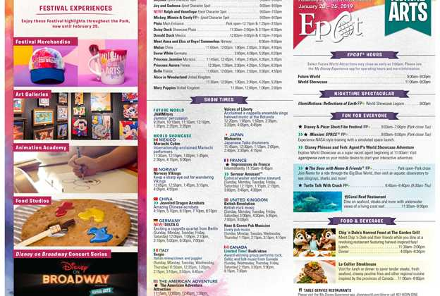 2019 Epcot Festival of the Arts times guide
