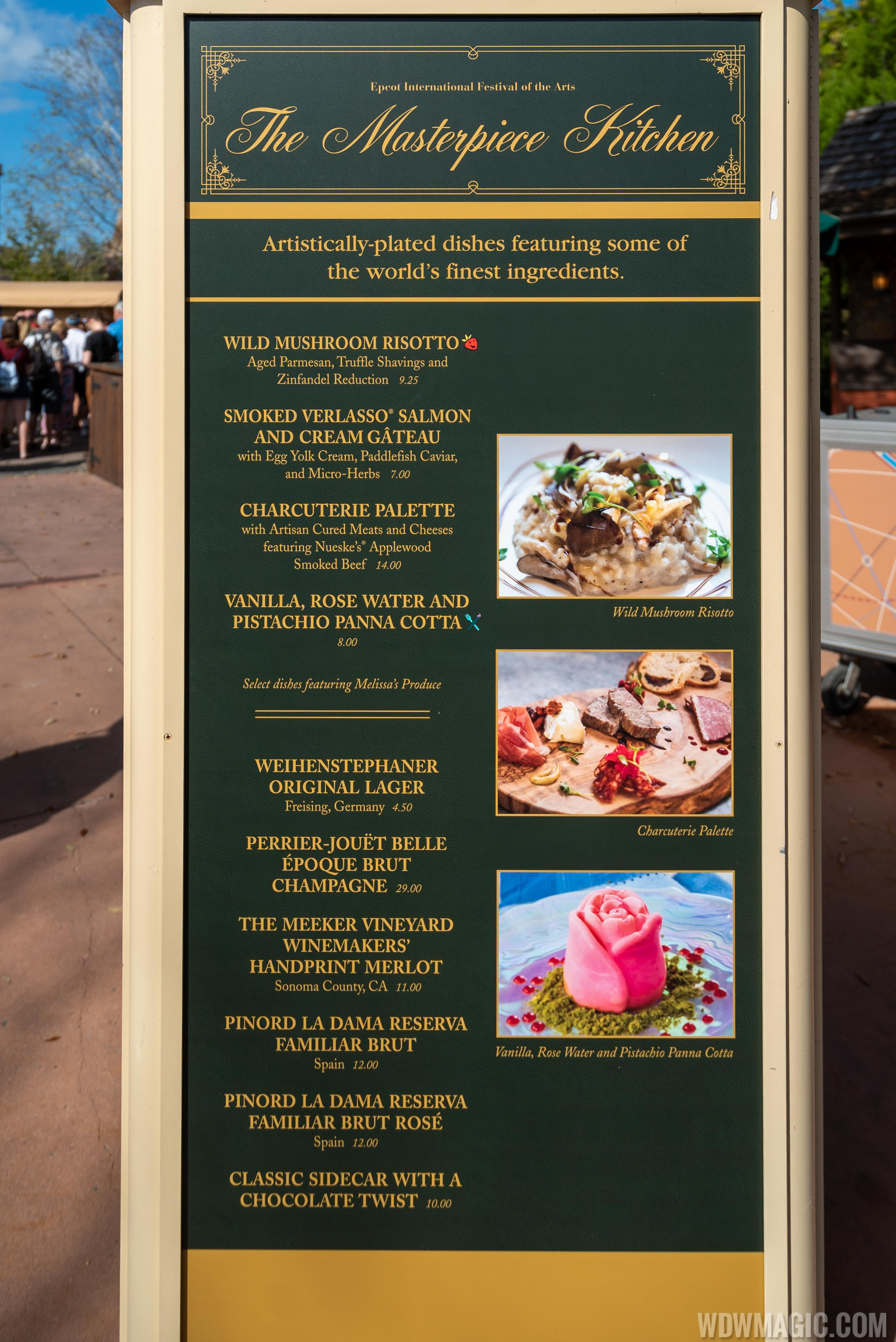 2020 Epcot Festival of the Arts Food Studio kiosks and menus