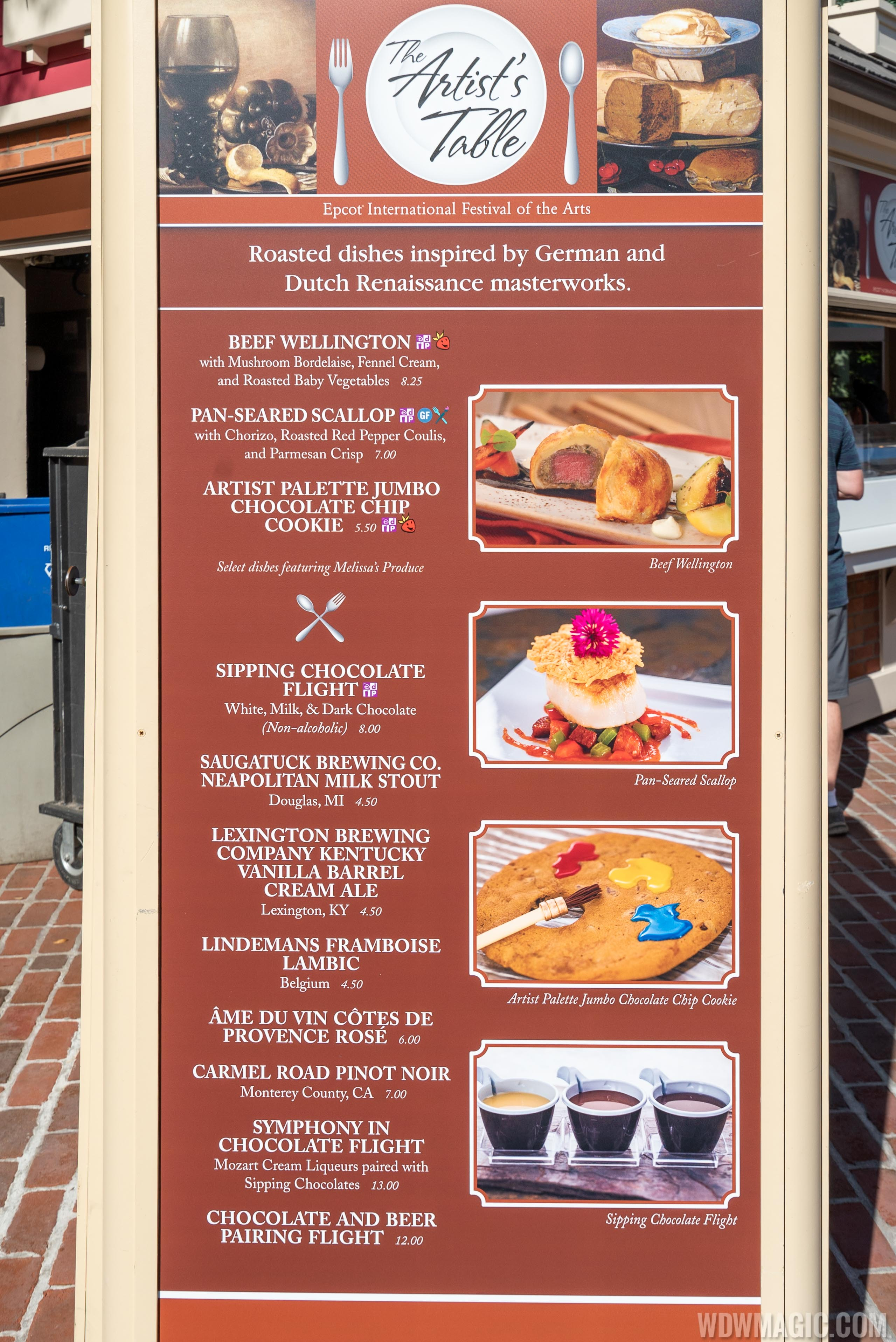 2020 Epcot Festival of the Arts Food Studio kiosks and menus