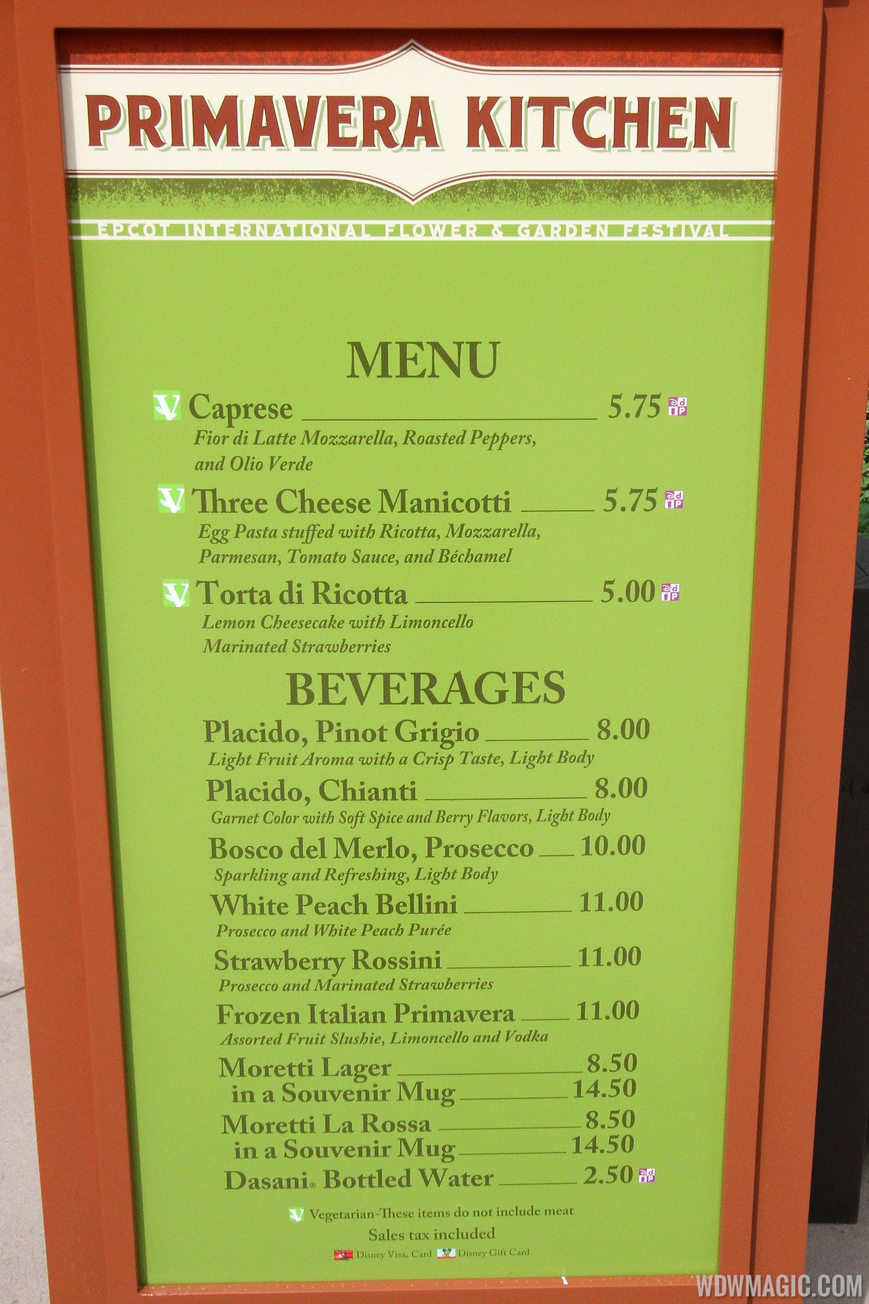 2014 Epcot Flower and Garden Festival Outdoor Kitchen kiosks and menus