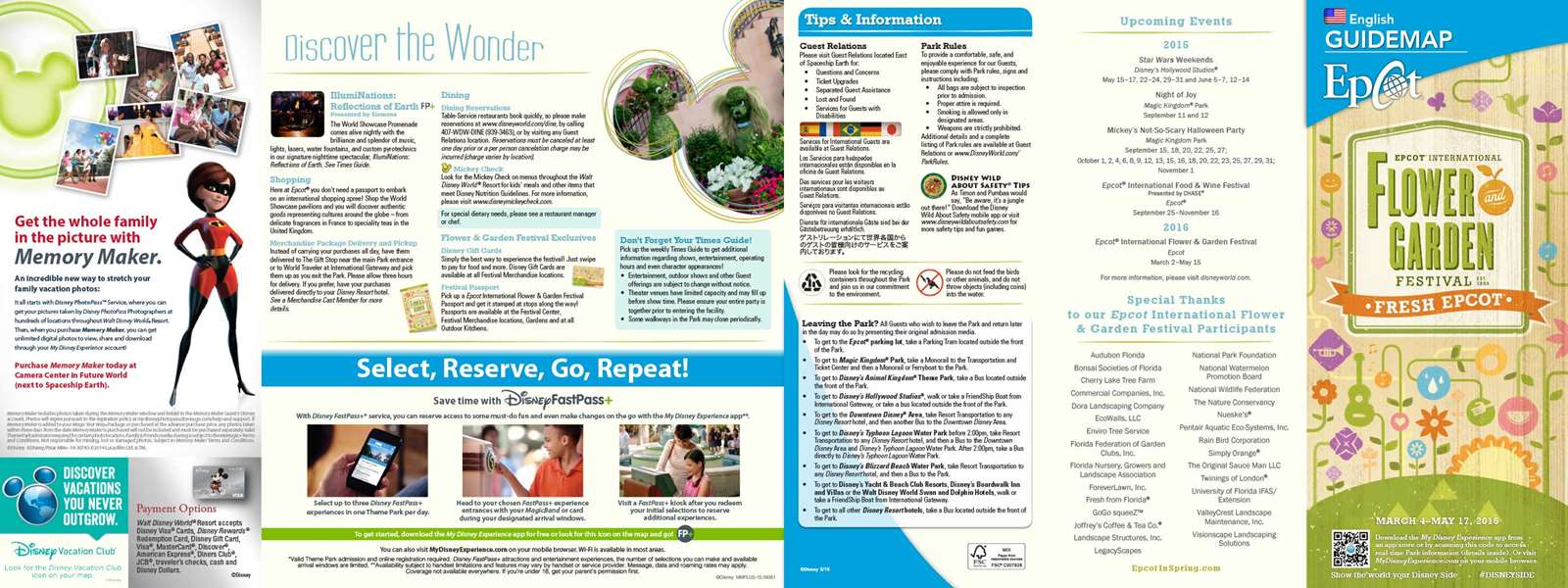 2015 epcot flower and garden festival guide map - photo 1 of 2