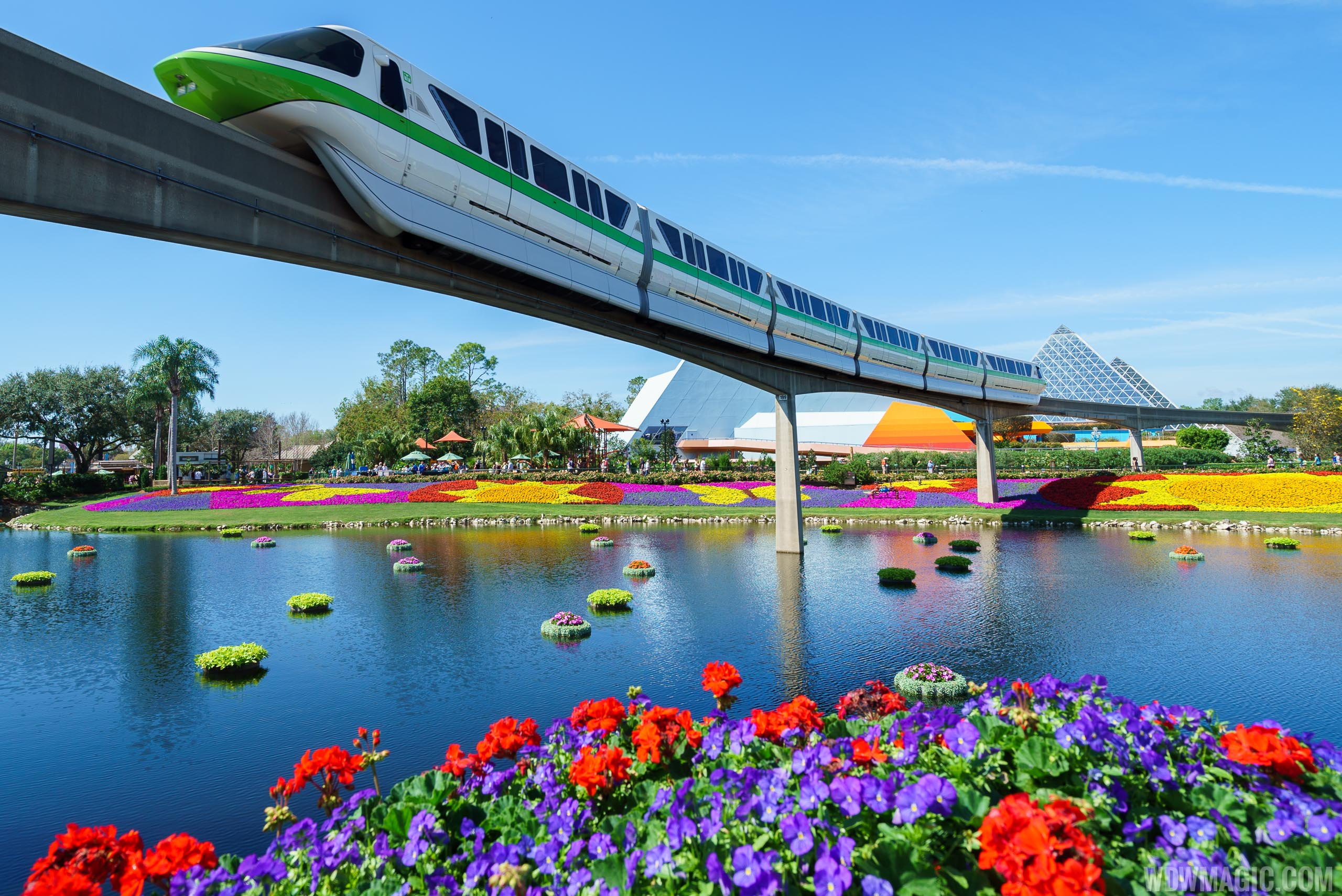 2017 Flower and Garden Festival - Monorail passes colorful gardens