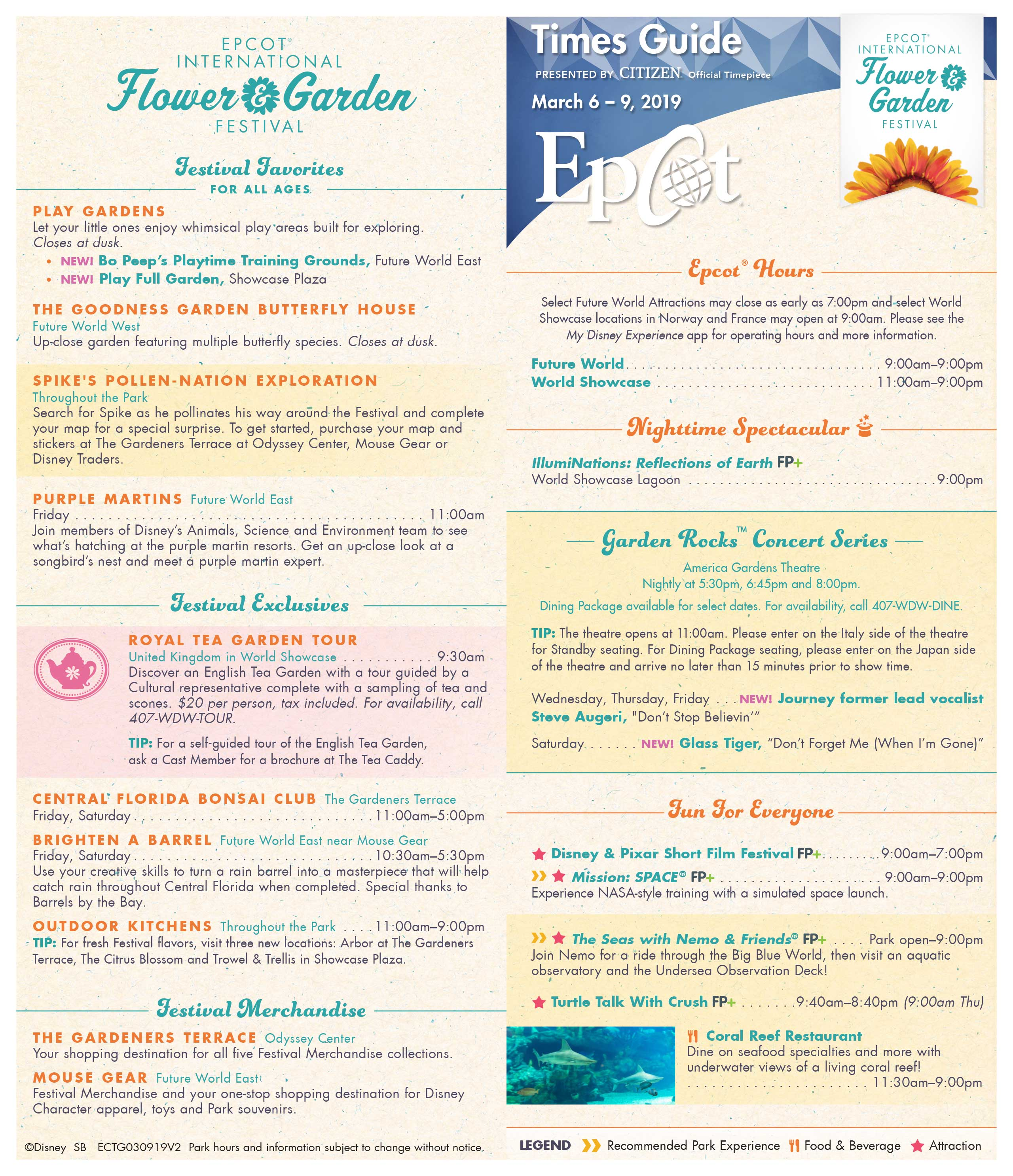 Epcot International Flower and Garden Festival Times Guide March 2019