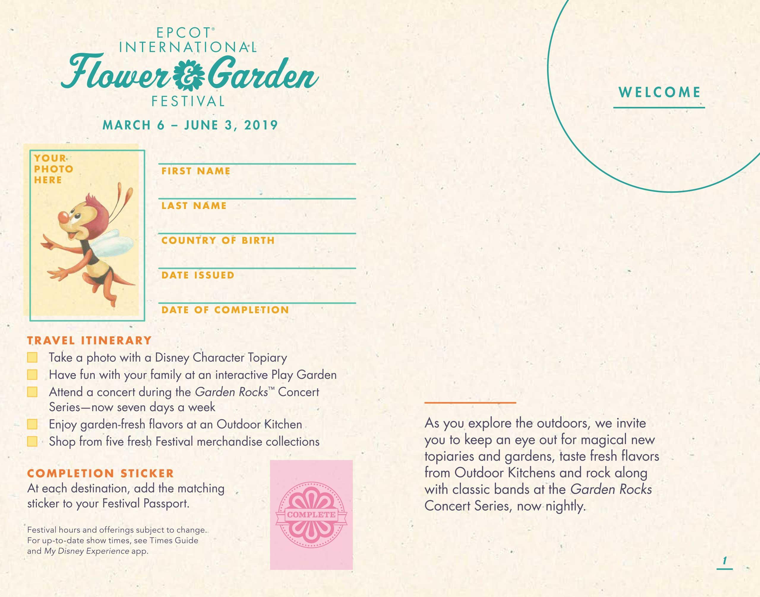 2019 epcot international flower and garden festival passport - photo