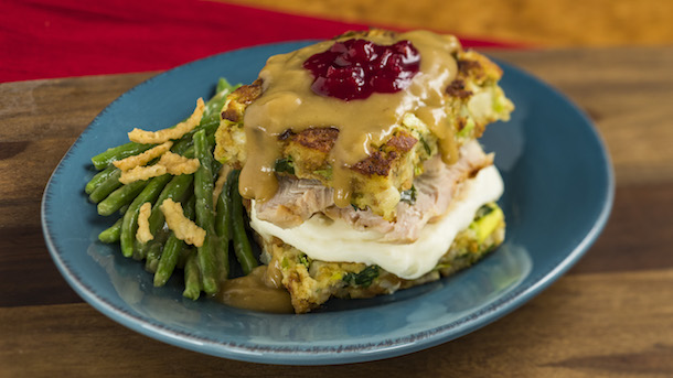 Slow-roasted turkey with stuffing, mashed potatoes and cranberry sauce