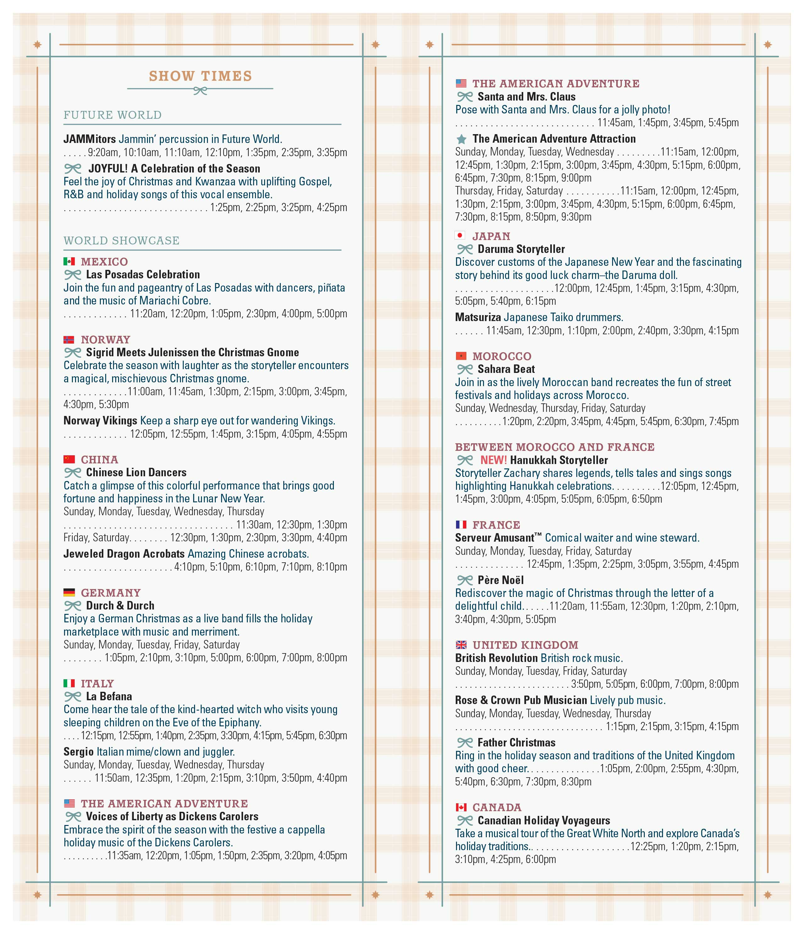2018 Epcot Festival of the Holidays times guide - Back