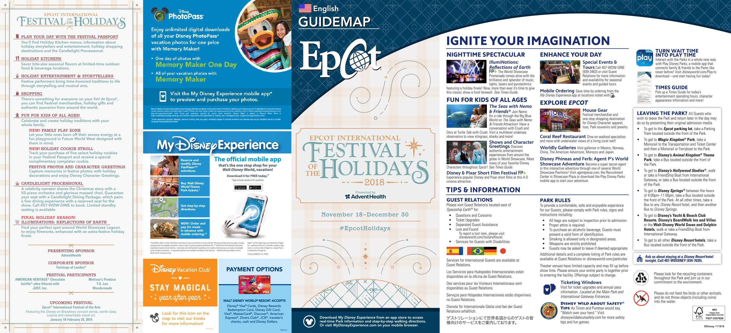 2018 Epcot Festival of the Holidays guide map - Front