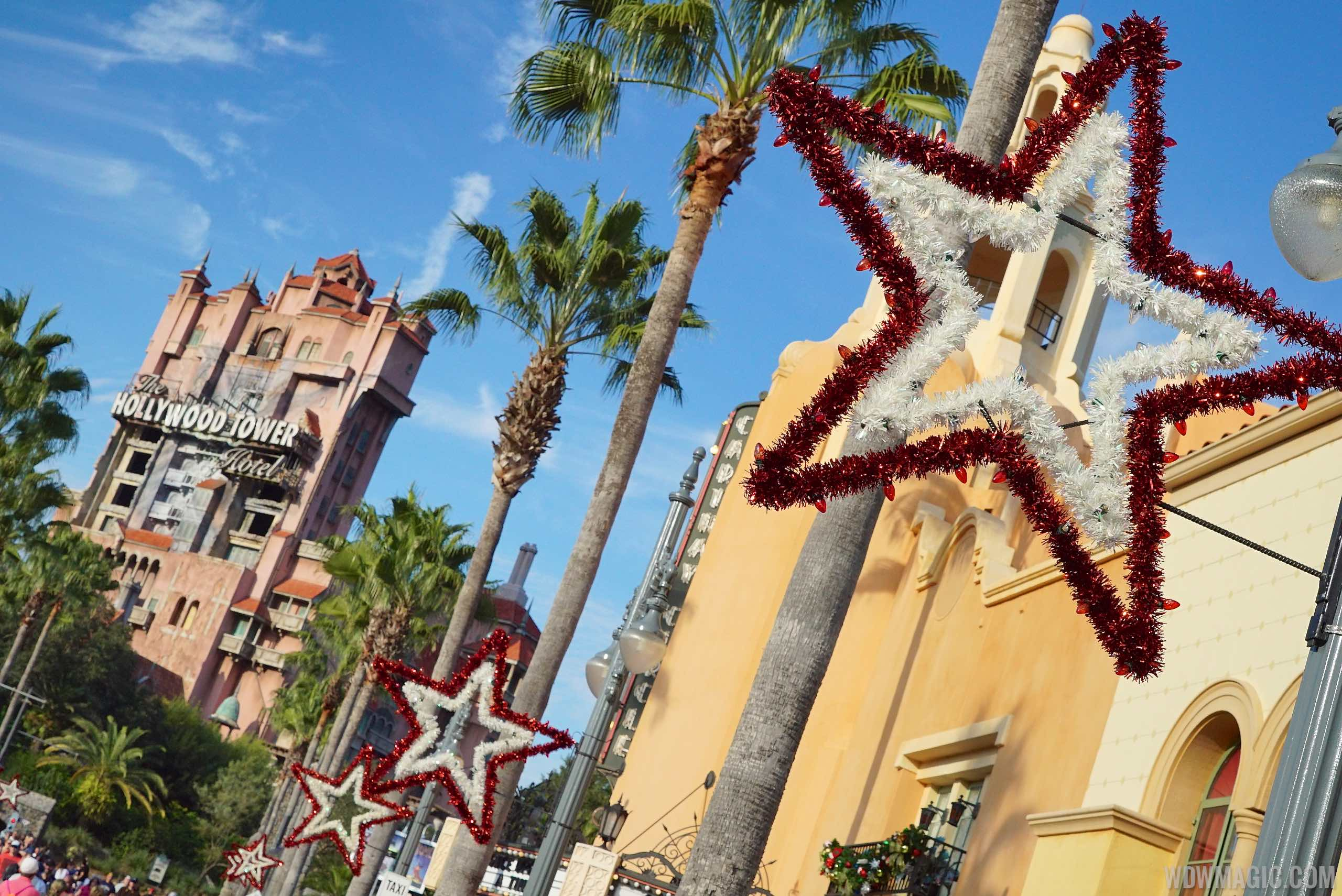 Holiday decorations at Disney's Hollywood Studios