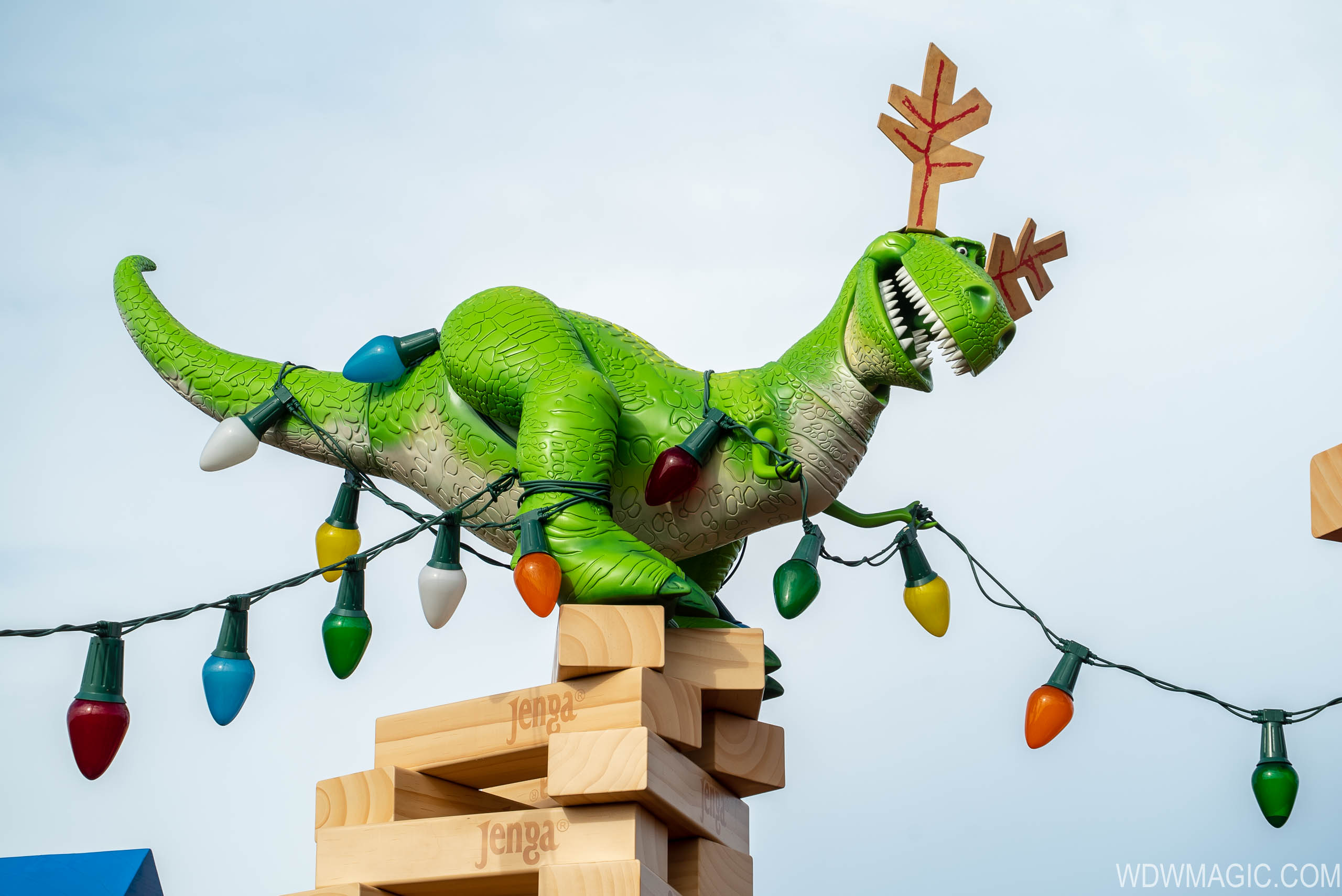 Rex dressed for the holidays in Toy Story Land