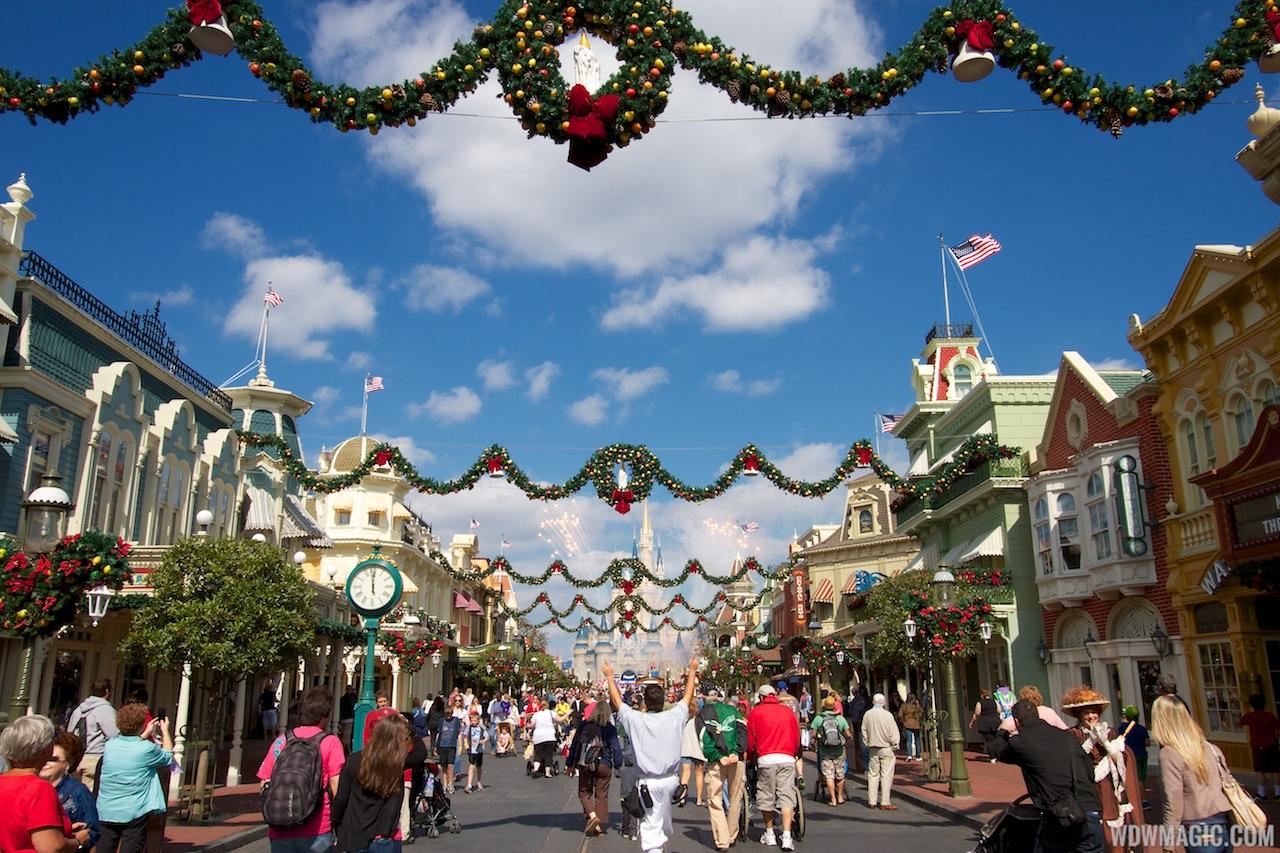 Christmas Holidays decorations at the Magic Kingdom