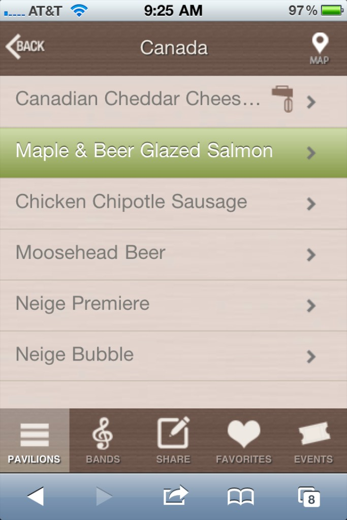 Official 2011 Food and Wine Festival mobile web app