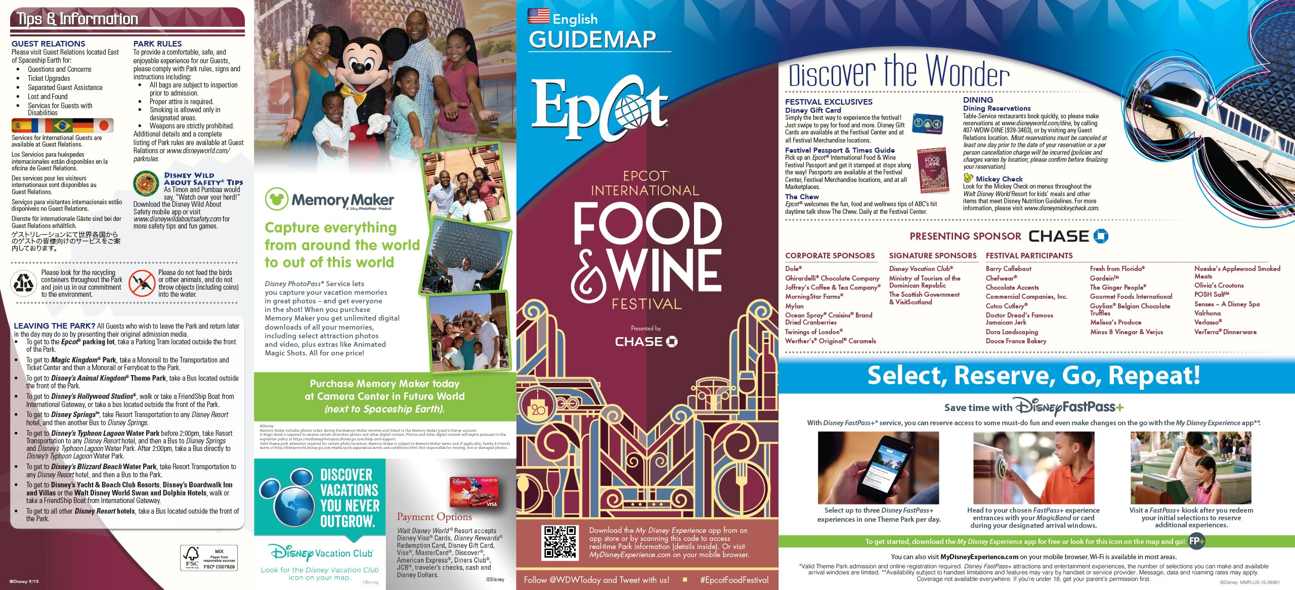 2015 Epcot International Food and Wine Festival Guide Map - Front