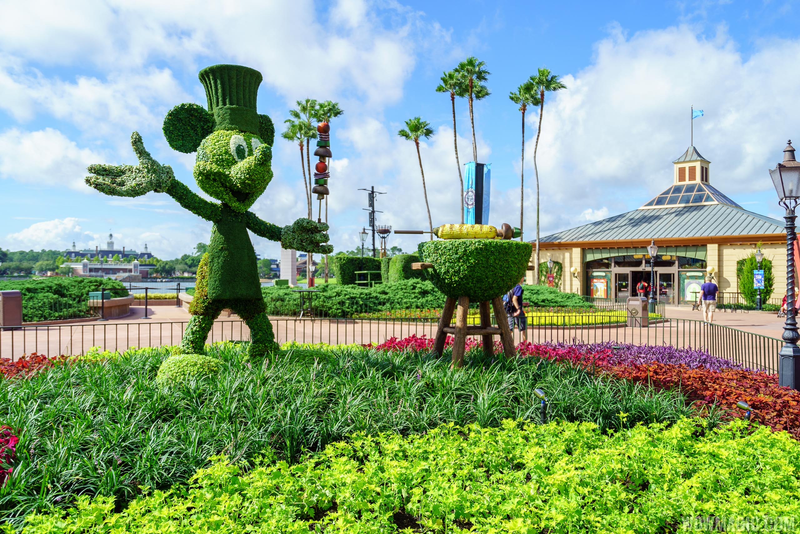 2016 Epcot Food and Wine Festival - Mickey topiary at World Showcase Plaza