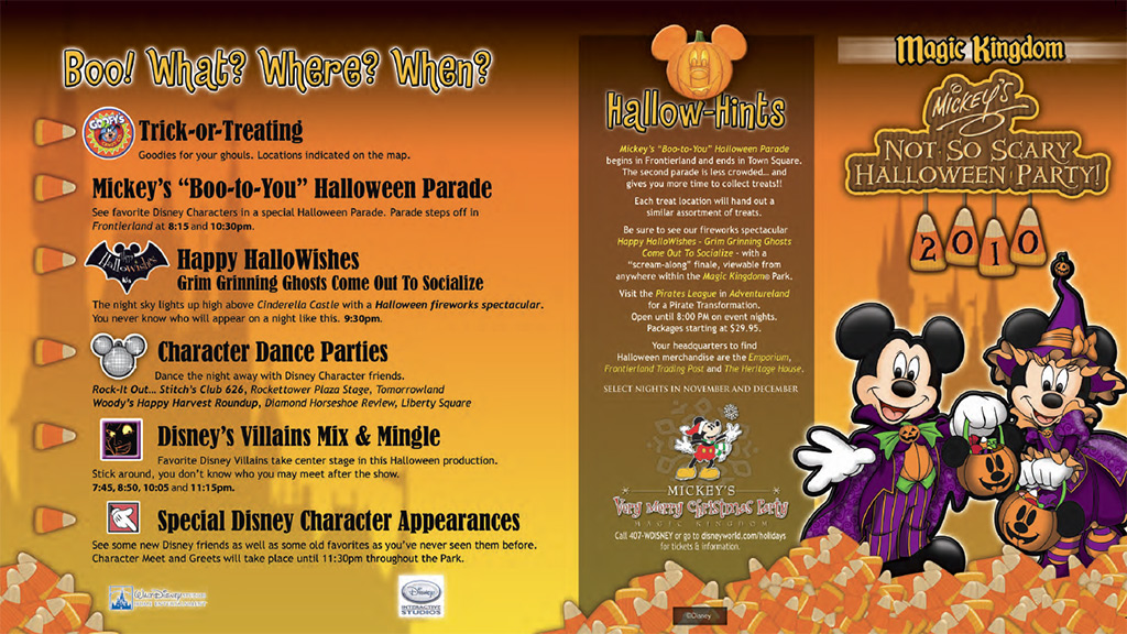 mickeys not so scary halloween party guide map 2010