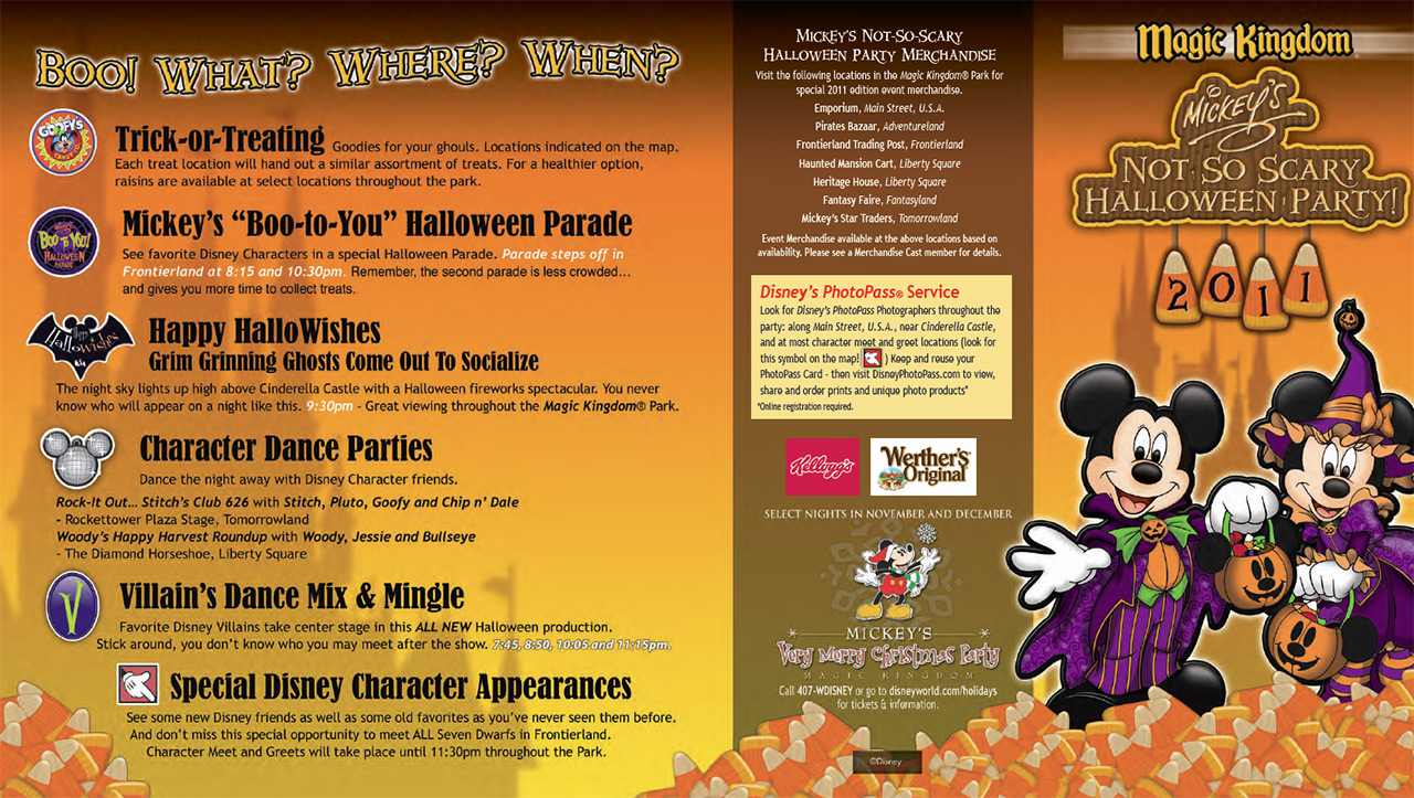 Mickey's Not-So-Scary Halloween Party guide map 2011