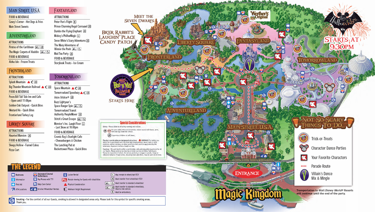 2011 mickey's not-so-scary halloween party guidemap