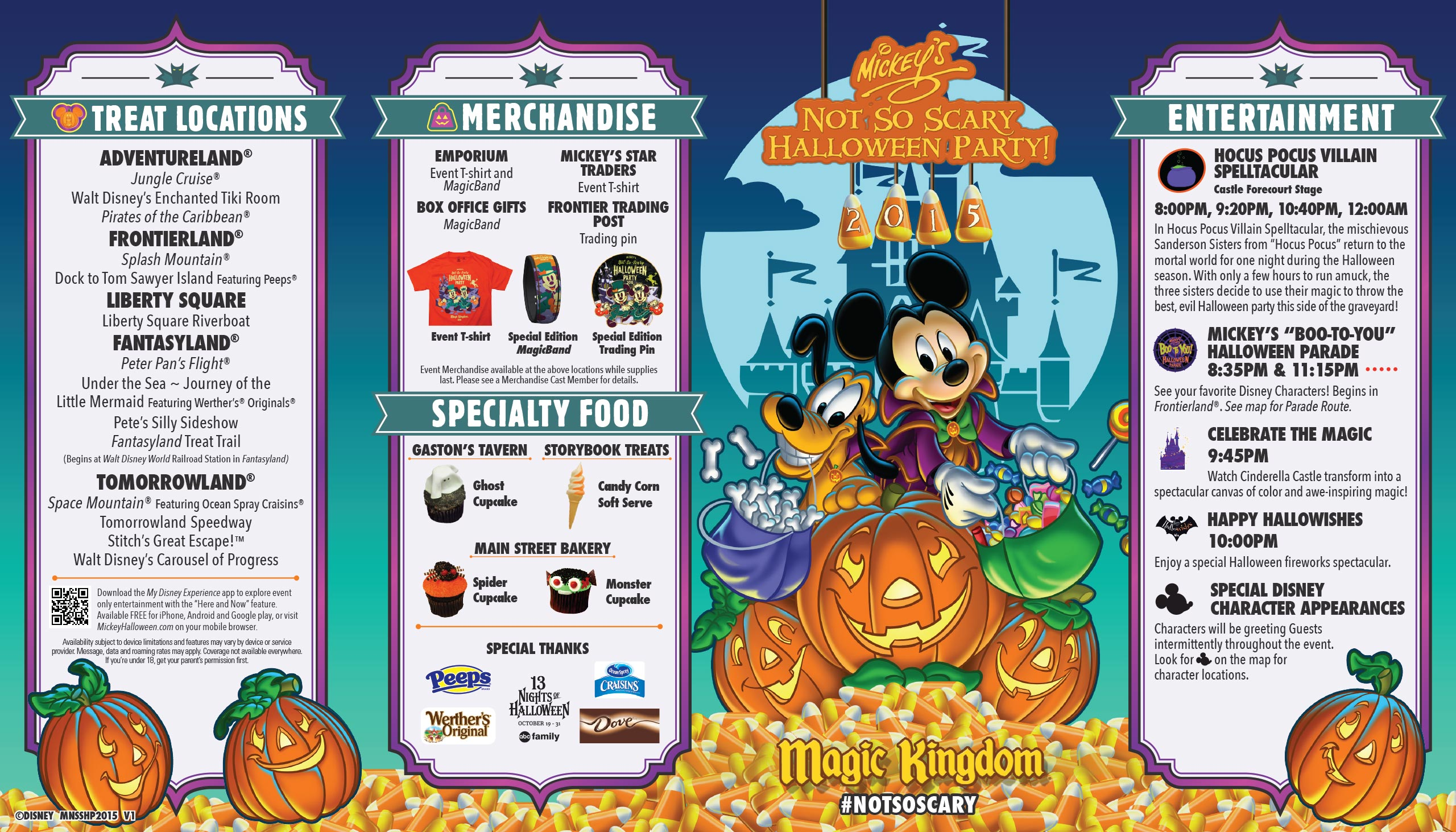 mickeys not so scary halloween party guide map 2015 front