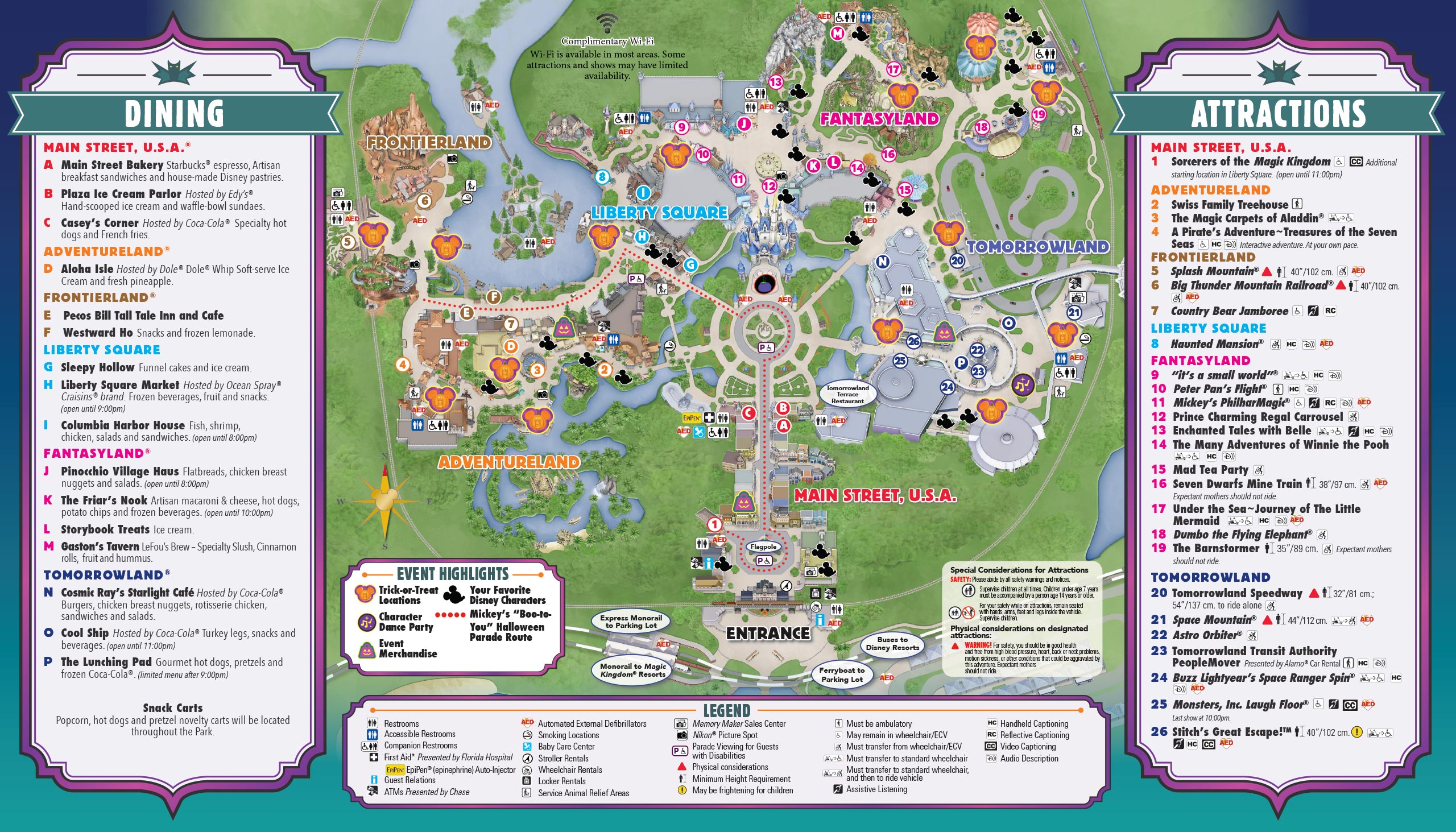 Mickey's Not-So-Scary Halloween Party guide map 2015 - Back