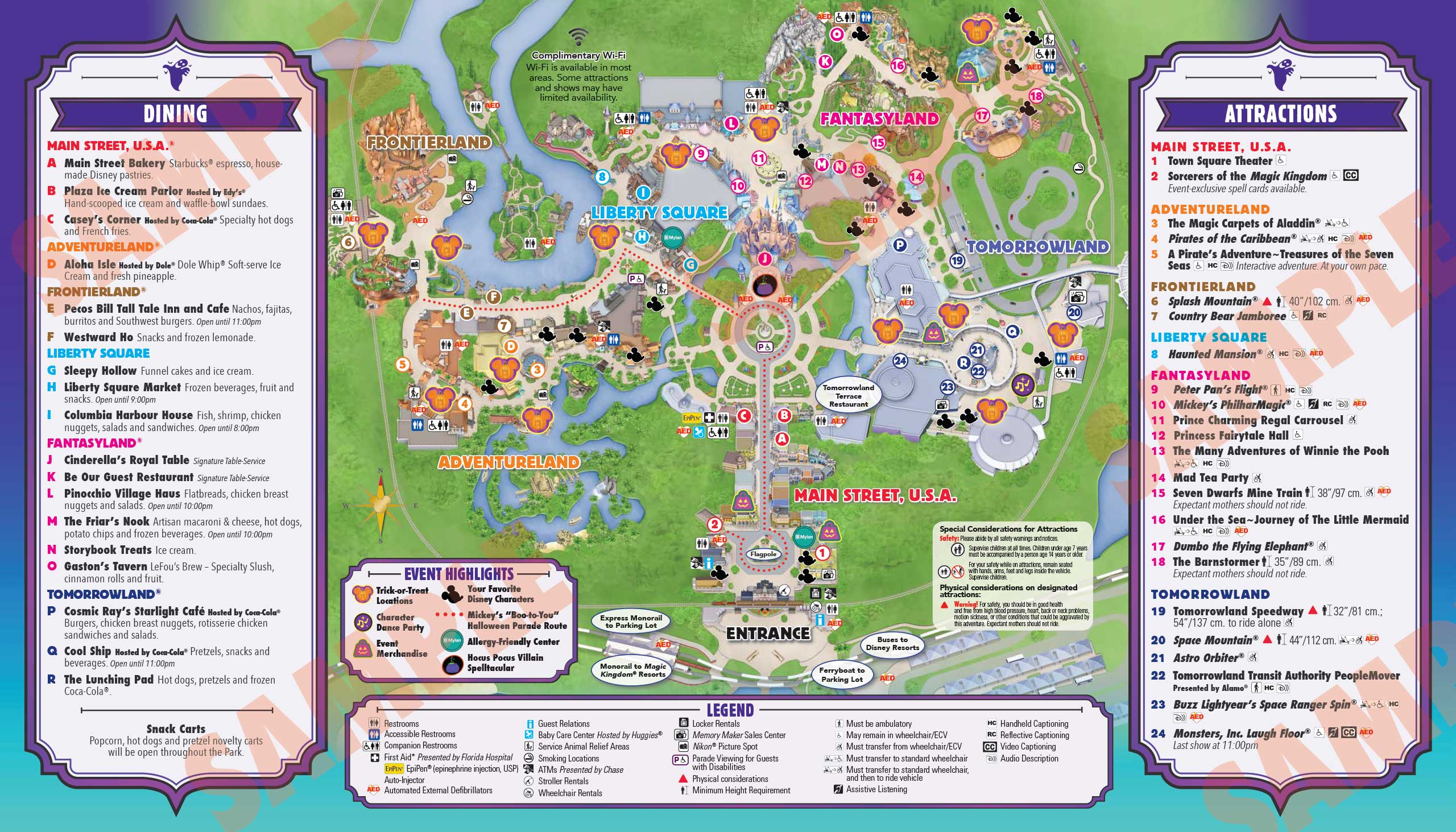 Mickey's Not-So-Scary Halloween Party guide map 2016 - Back