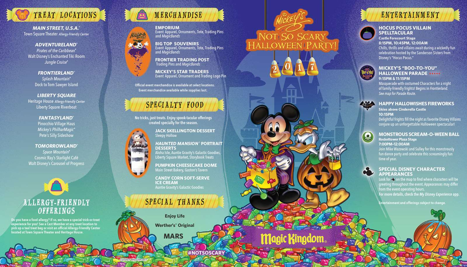 mickey's not-so-scary halloween party 2017 guide map - photo 1 of 2