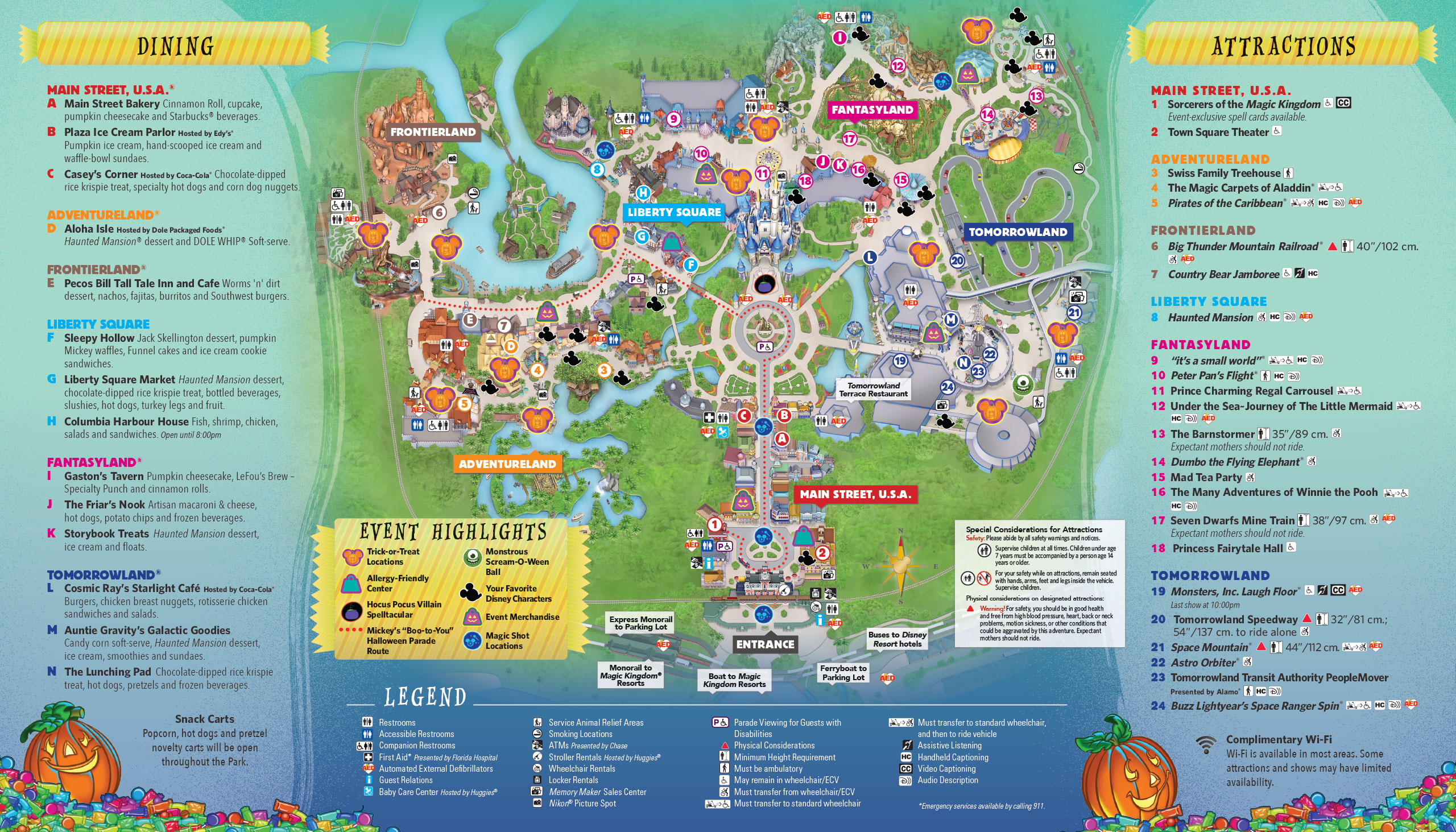 Mickey's Not-So-Scary Halloween Party 2017 guide map - back