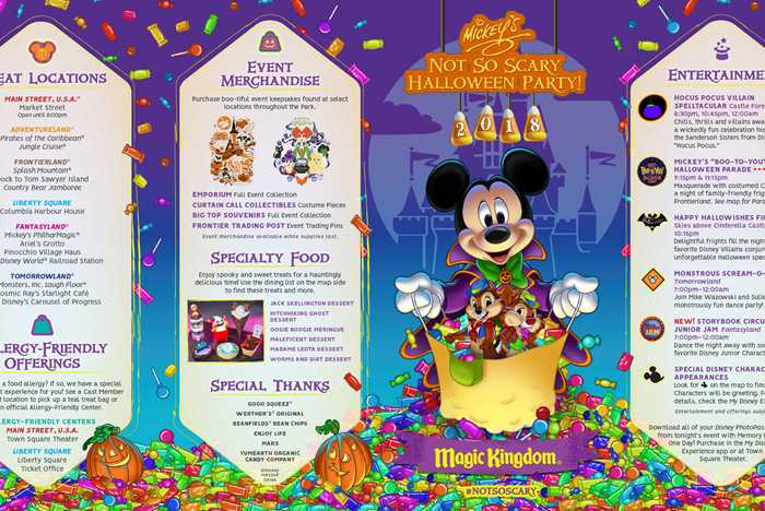 Mickey's Not-So-Scary Halloween Party 2018 guide map
