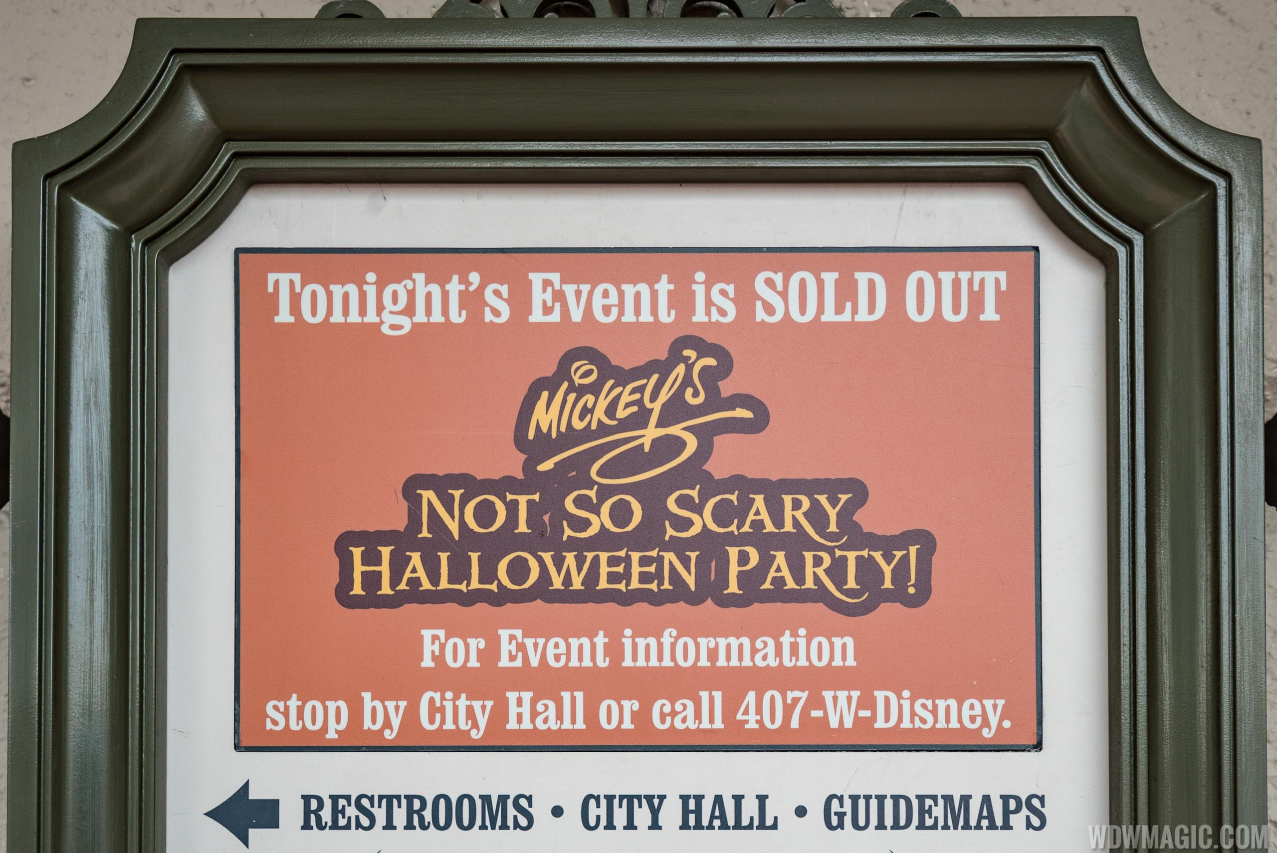 Mickey's Not-So-Scary Halloween Party sold out sign